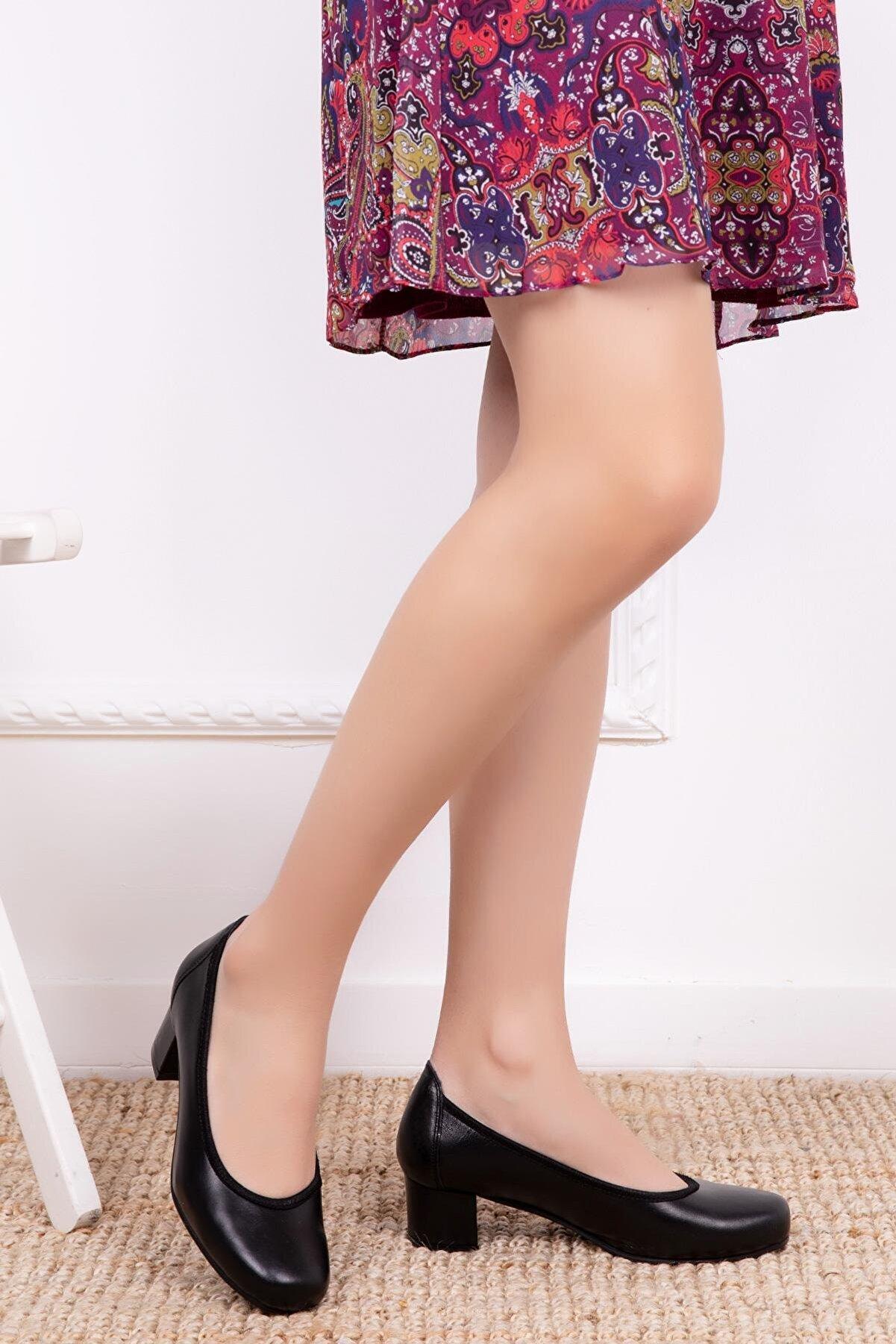 Deripabuc Hakiki Deri Siyah Kadın Topuklu Deri Ayakkabı Shn-0280