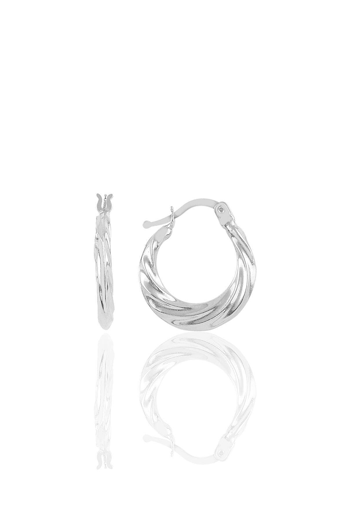 Söğütlü Silver Gümüş Dalgalı Şarnel Küpe