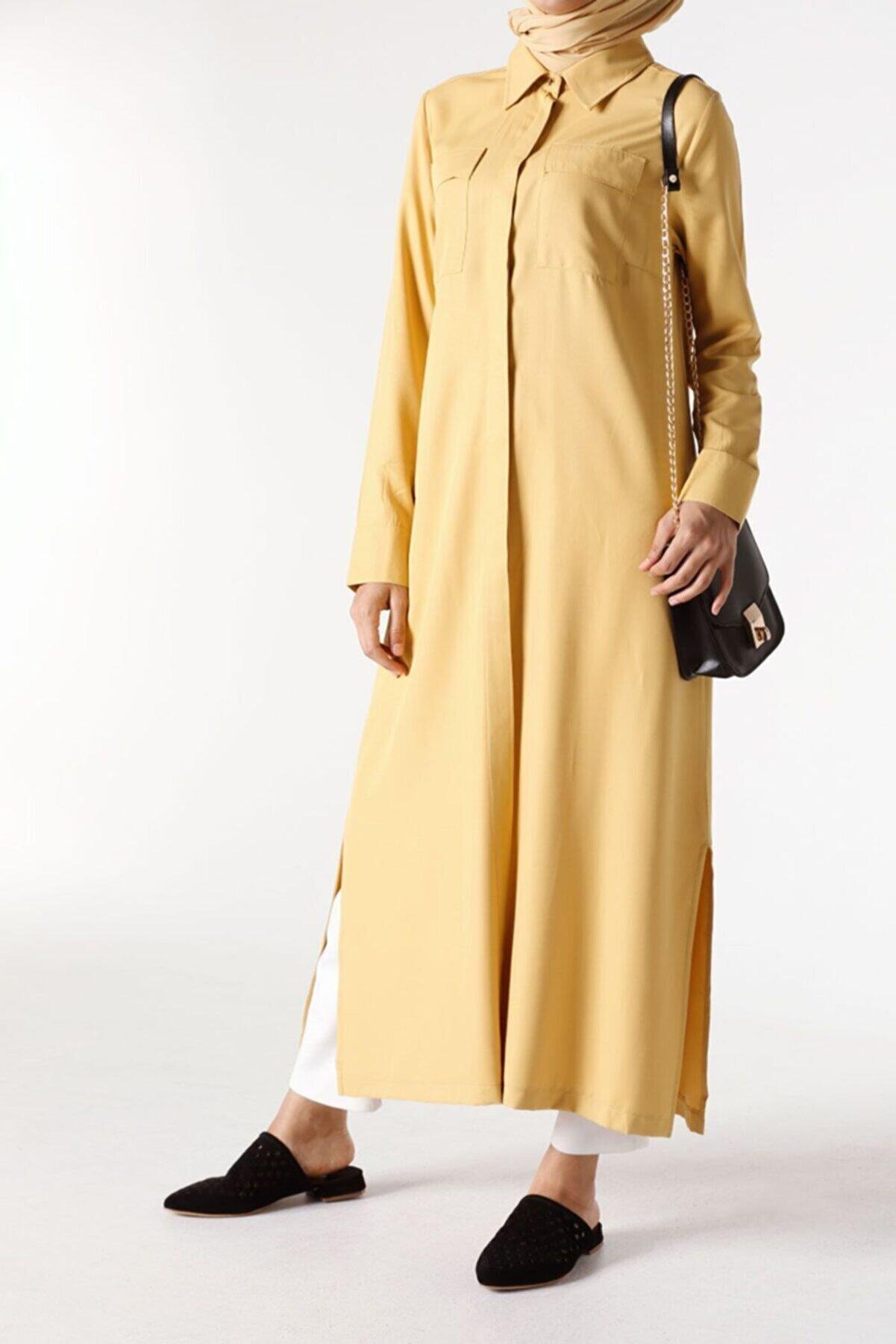 ALLDAY Sarı Viskon Yırtmaçlı Uzun Gömlek Tunik