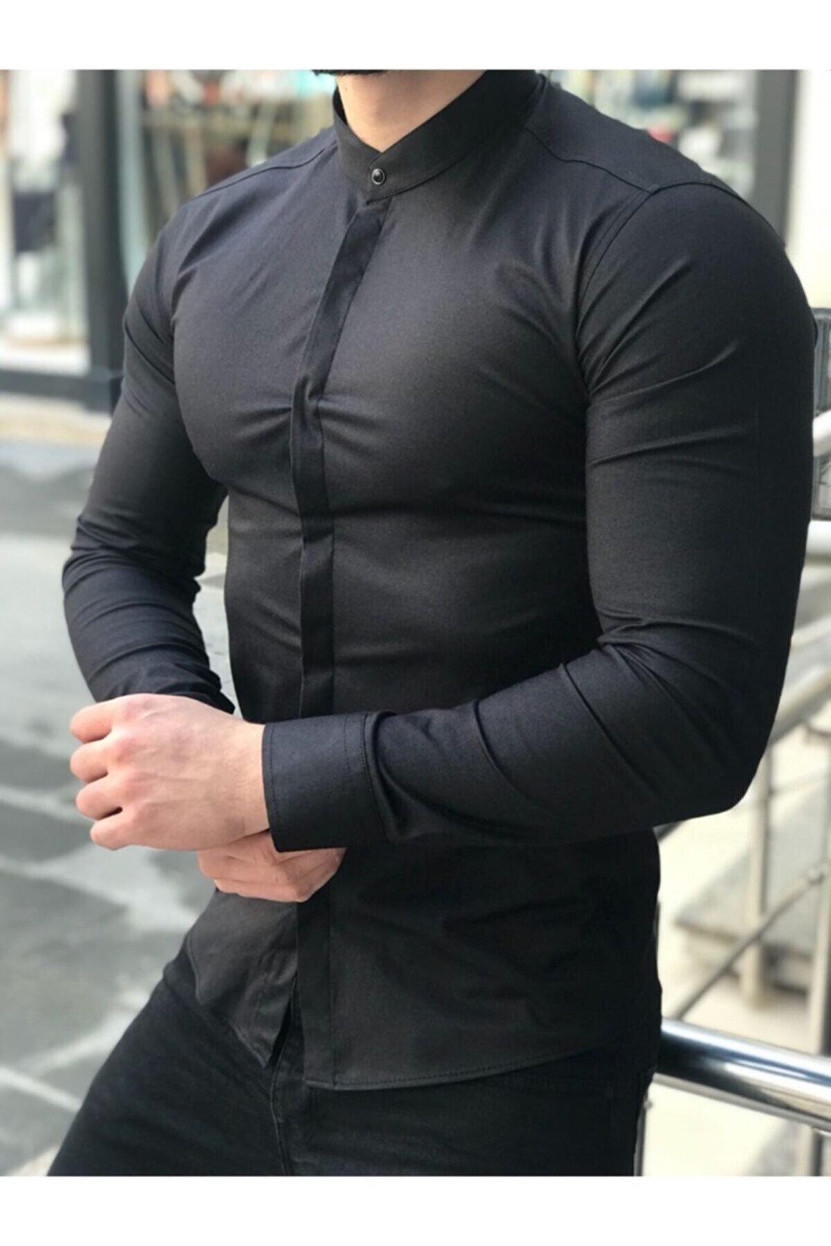 MARKA KRALI Hakim Yaka Poplin Likralı Italyan Siyah Gömlek