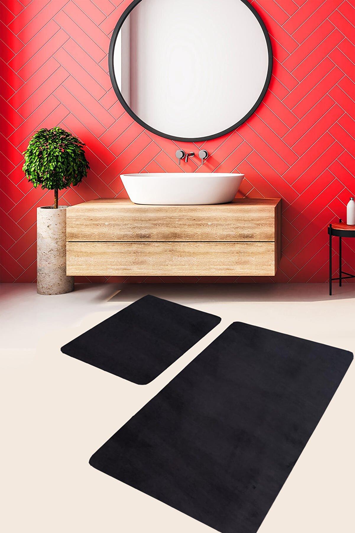 Sarar Ikili Banyo Paspası Klozet Takımı Siyah Post Peluş Halı Antibakteriyel