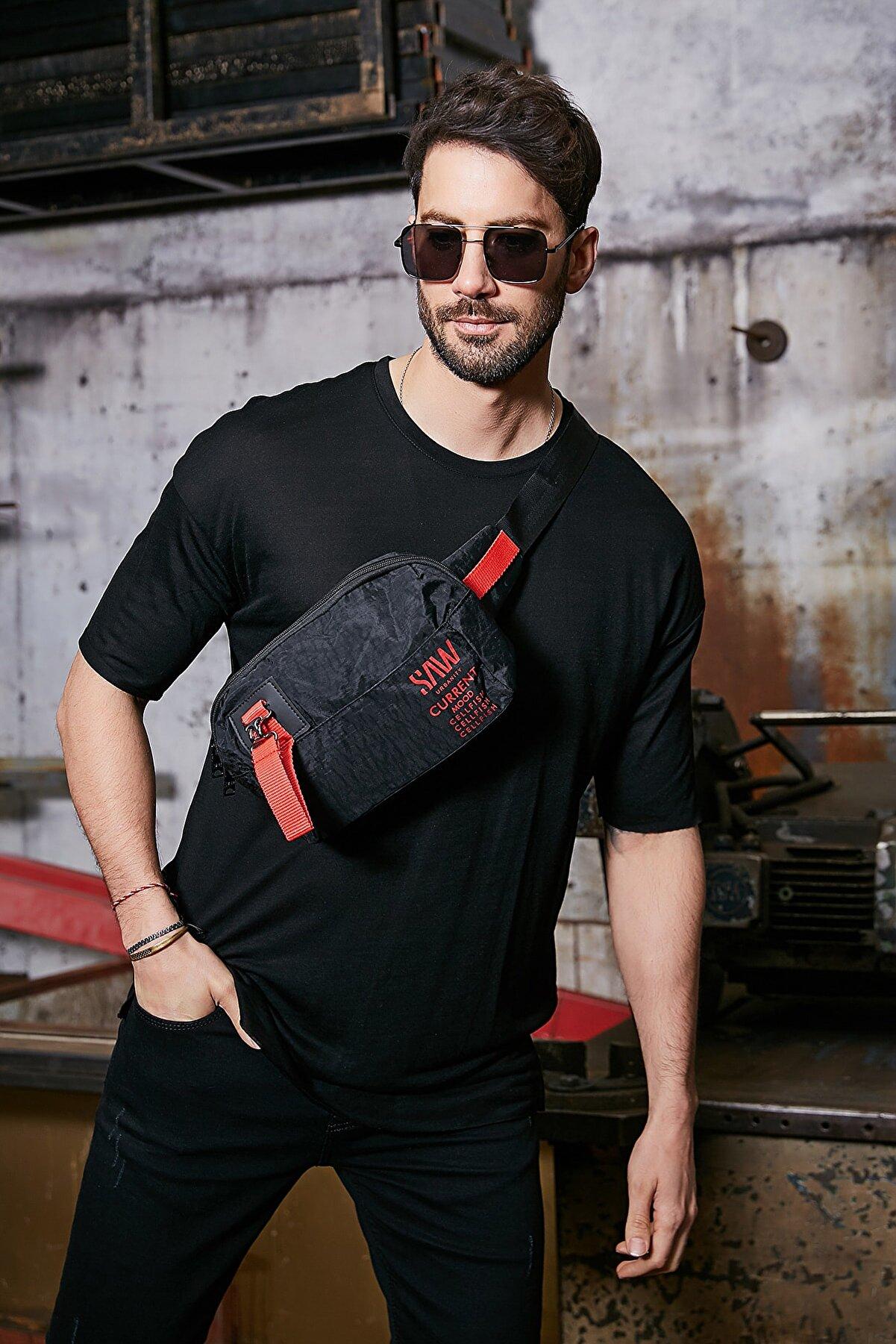 Sateen Men Erkek Siyah Flamlı Suprem T-Shirt