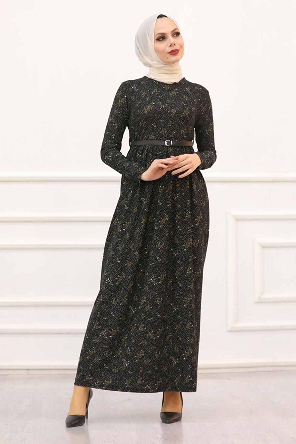 Neva Style Kadın Siyah Desenli Tesettür Elbise 163905s
