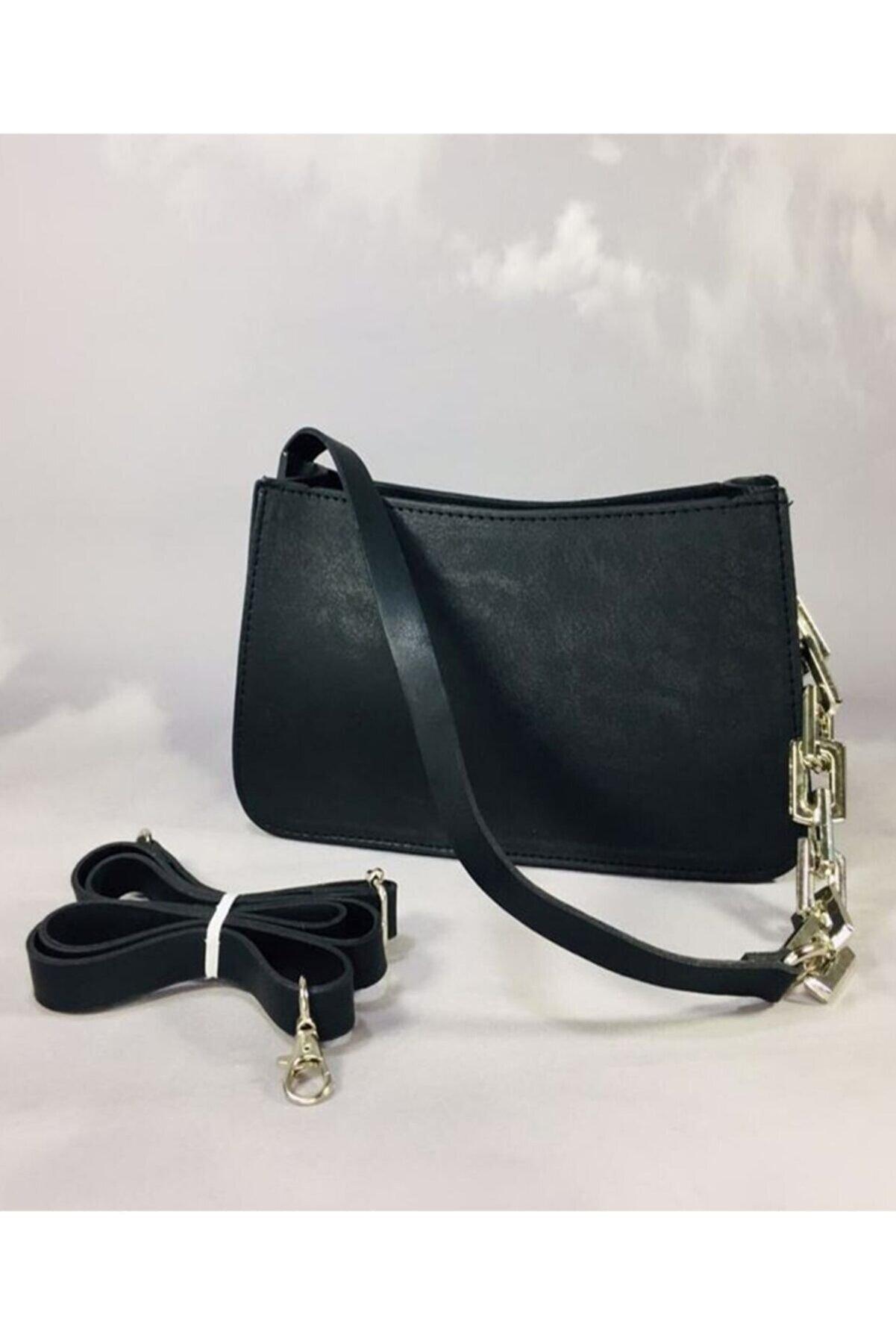 Tekin Çanta Kadın Siyah Zincirli Baget Çanta