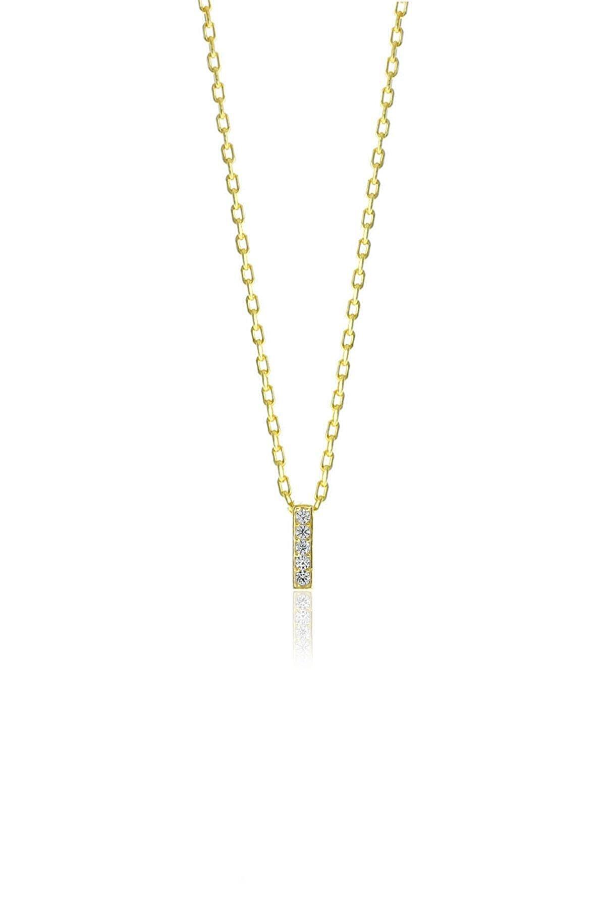 Söğütlü Silver Gümüş  Altın Yaldızlı Üç Boyutlu Minimal I Gümüş Harf Kolye