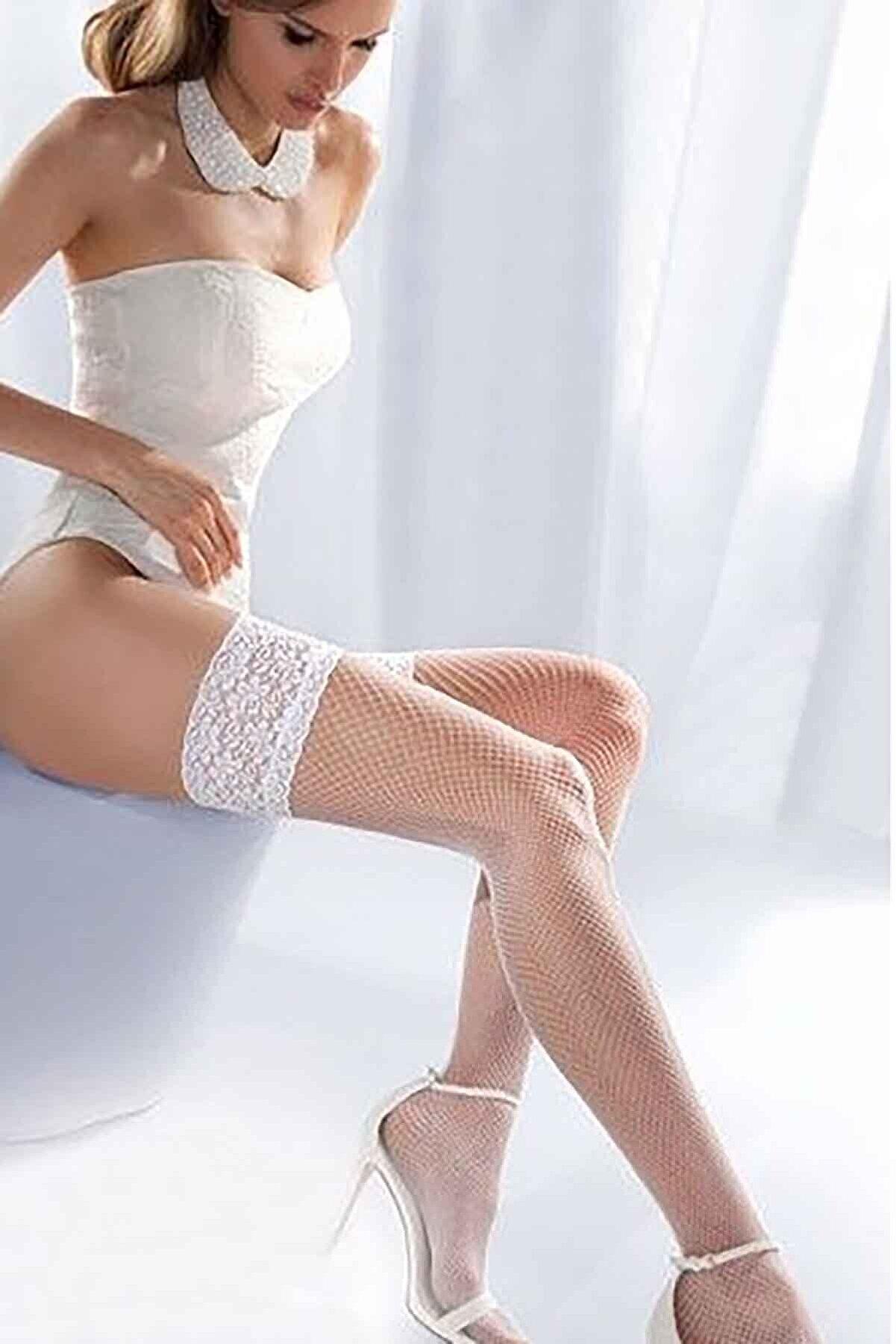 Merry See Kadın Beyaz File Silikonlu Dantelli Jartiyer Çorap