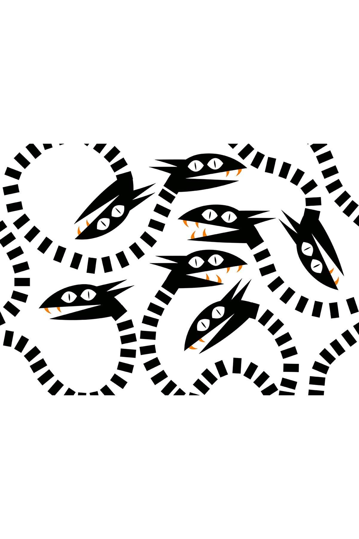 Olgun Kaşıkçı Snakes, 35x50, Dijital Ilüstrasyon, Dokulu Kağıt