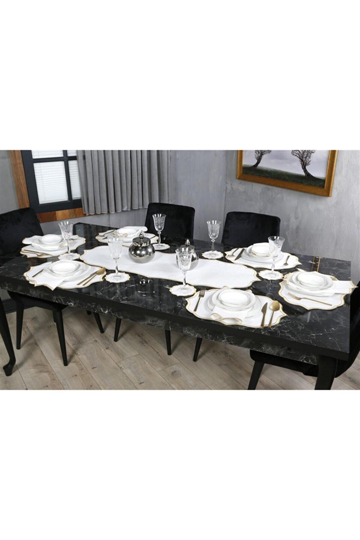 CASANUOVA Altın 20 Parça Masa Örtüsü Seti Oymalı Nakışlı Keten Efektli