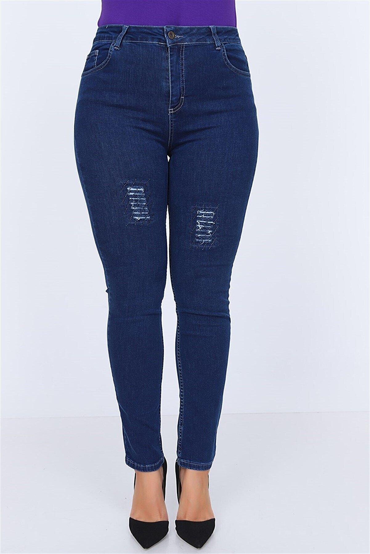 Rmg Kadın Lacivert Yama Detaylı Taş İşlemeli Büyük Beden Kot Pantolon