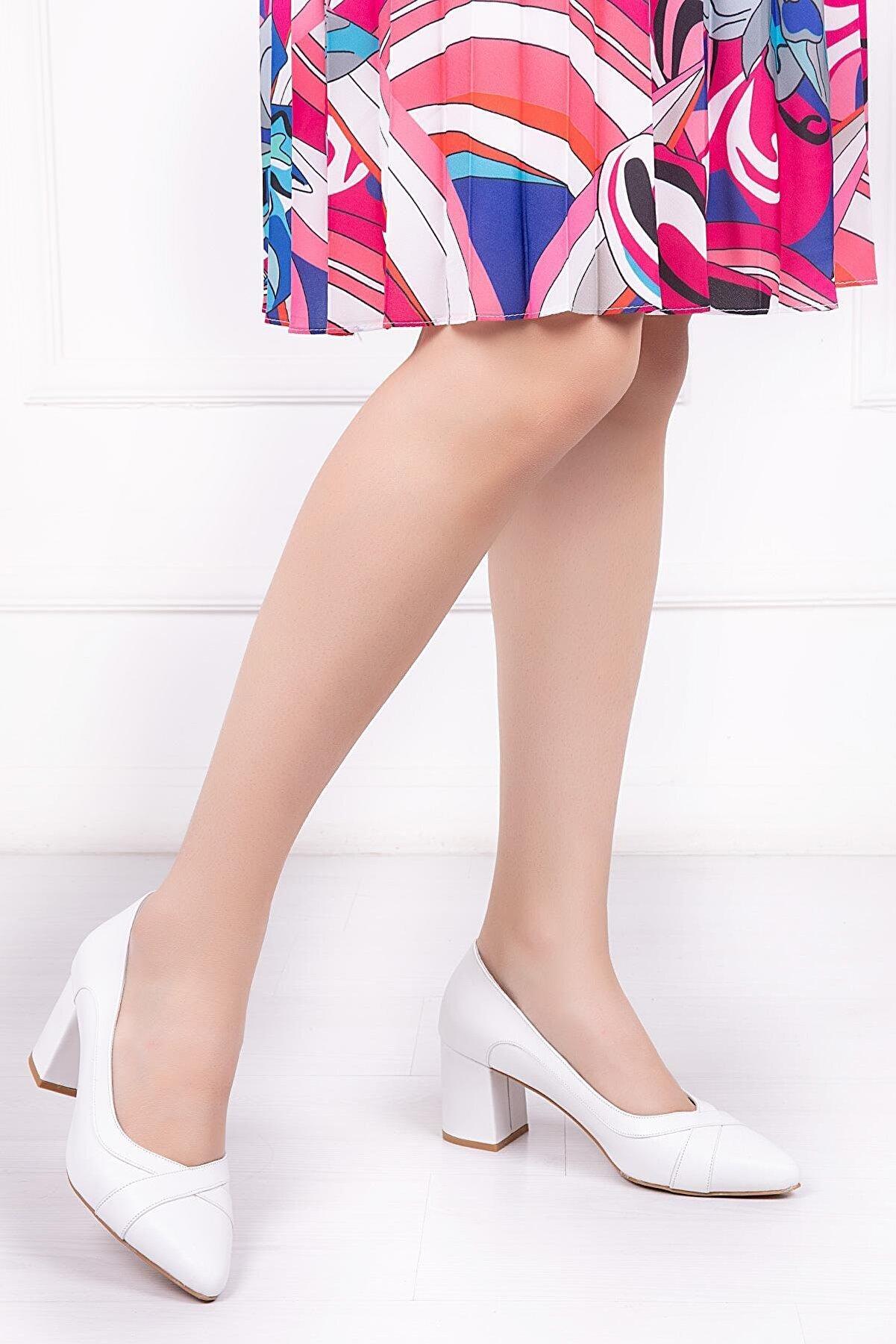 Deripabuc Hakiki Deri Beyaz Kadın Topuklu Deri Ayakkabı Shn-0722
