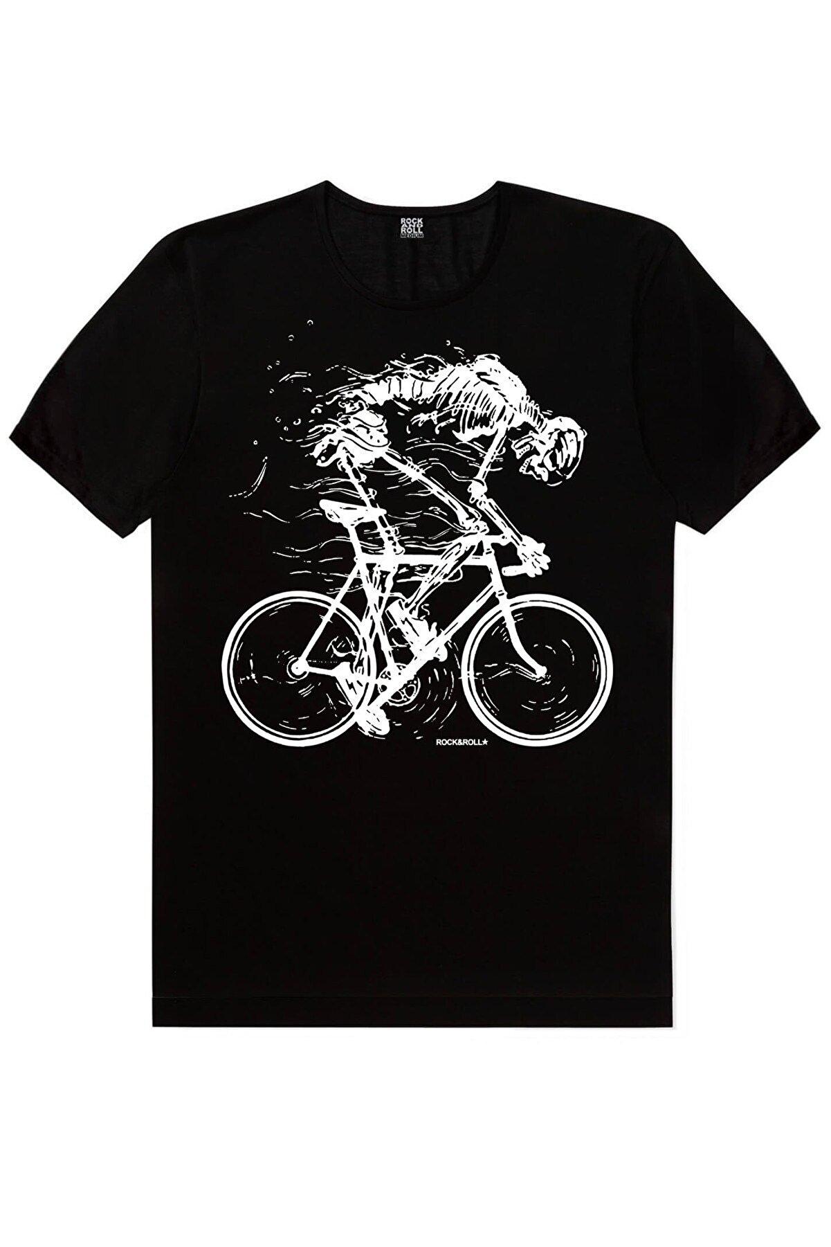 Rock & Roll Erkek Siyah Daha Hızlı Kısa Kollu T-shirt