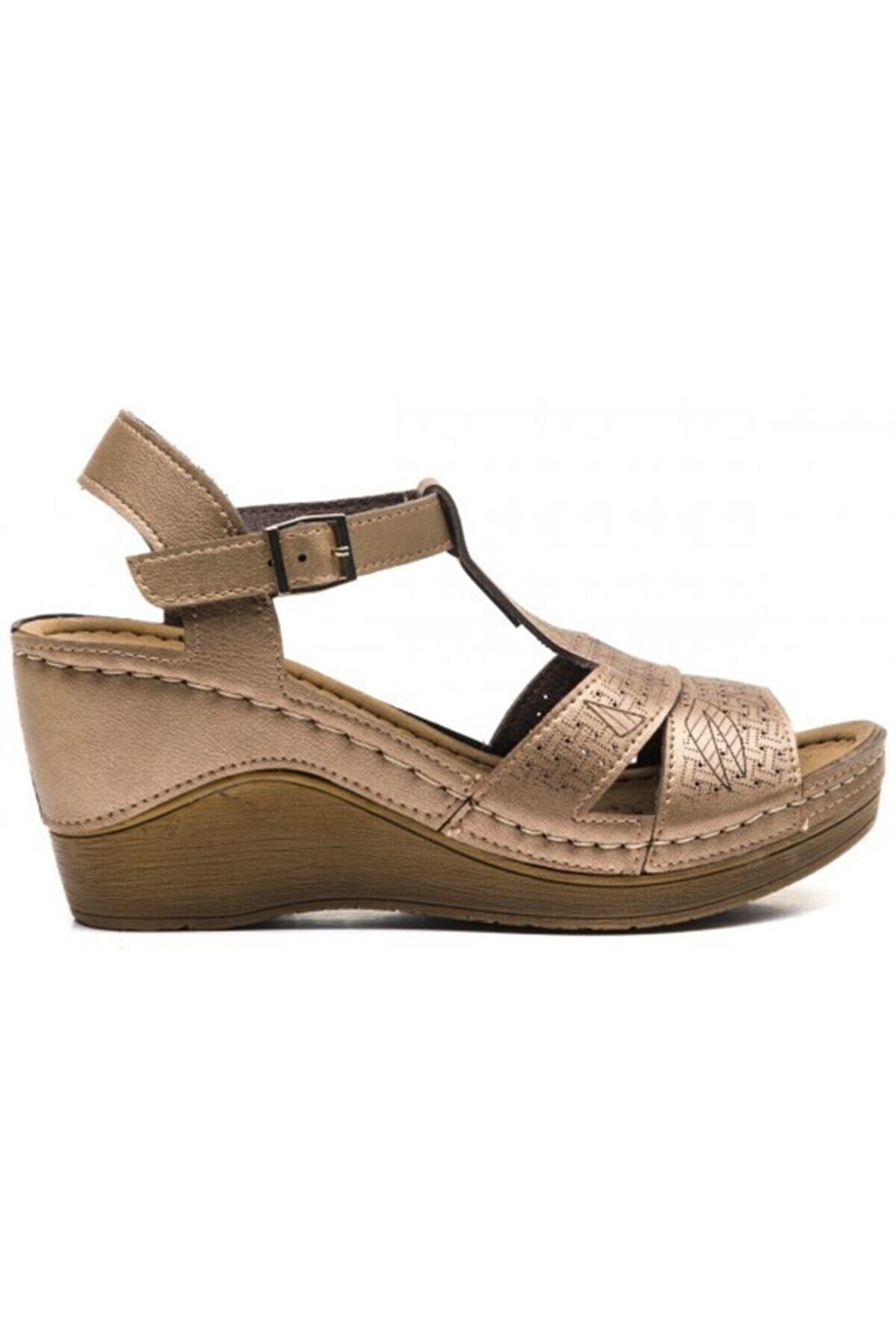 CARLA VERDE Kadın Altın Yüksek Taban Anatomik Sandalet 170605