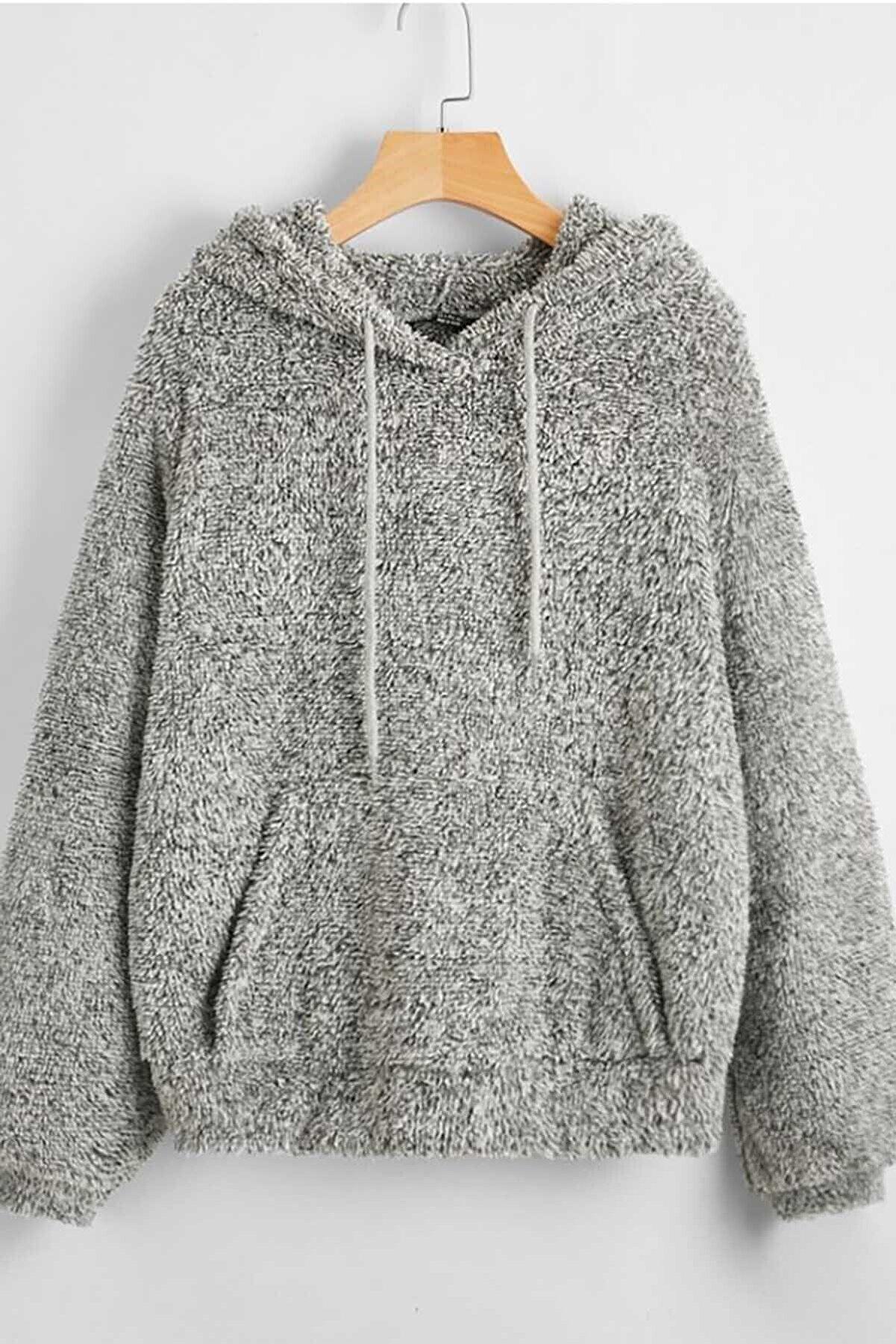 Madmext Kadın Gri Peluş Kapüşonlu Sweatshirt Mg818