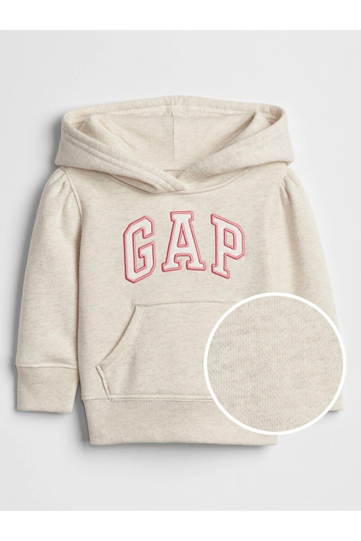GAP Kız Bebek Gri Logo Kapüşonlu Sweatshirt