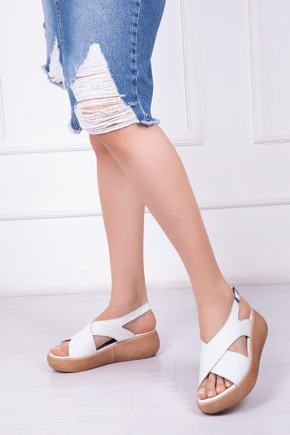 Deripabuc Hakiki Deri Beyaz Kadın Deri Sandalet Dp-20669