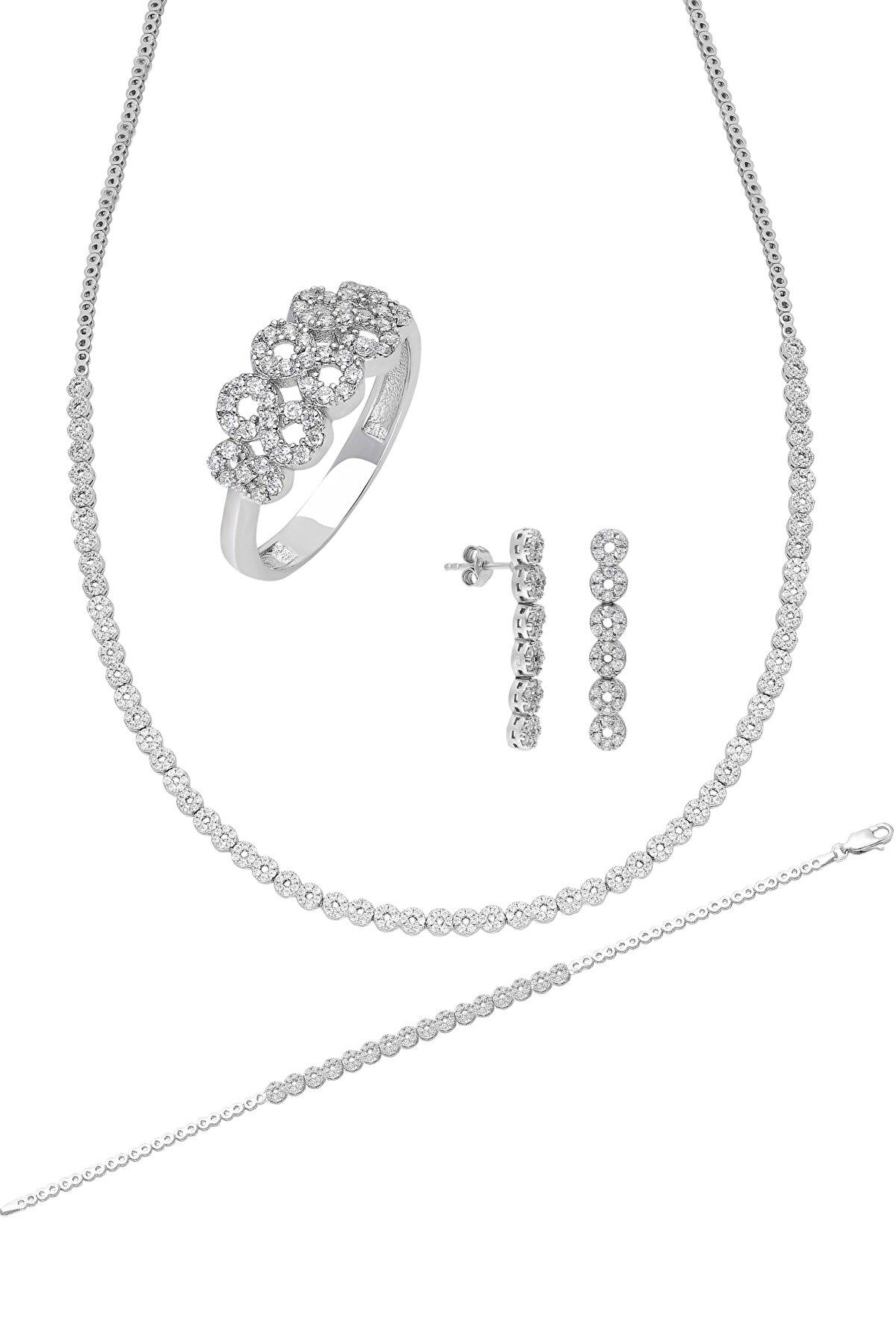 Chavin Su Yolu Gümüş Kolye Küpe Bileklik Yüzük Set Ef96