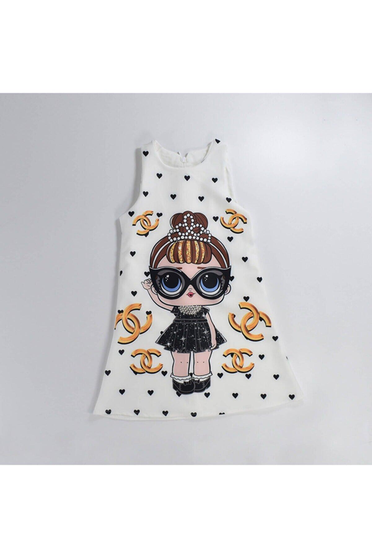 Mersevkids Kız Çocuk Sıfır Kol Lol Bebekli Elbise 3-5 Yaş