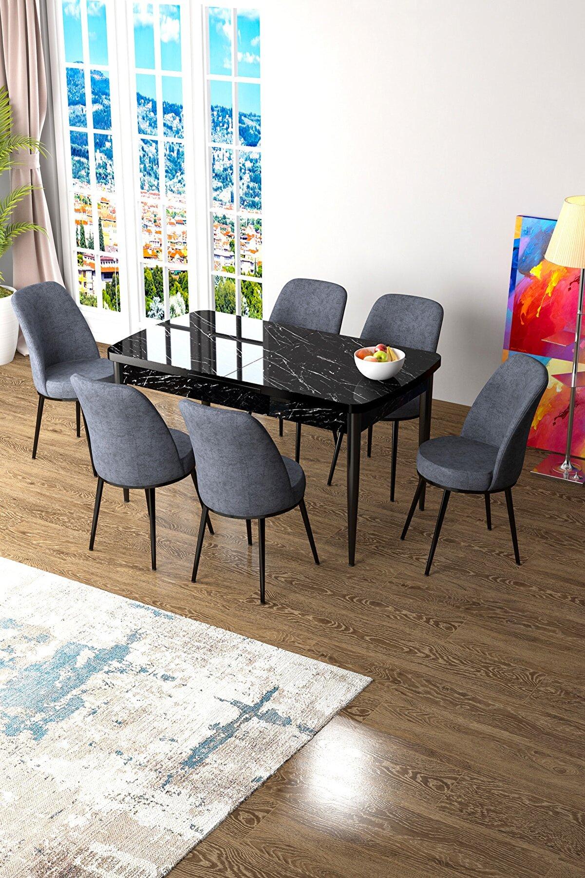 Canisa Concept Zen Serisi Mdf Açılabilir Mutfak Masa Takımı -siyah Mermer Desenli Masa +6 Füme Sandalye