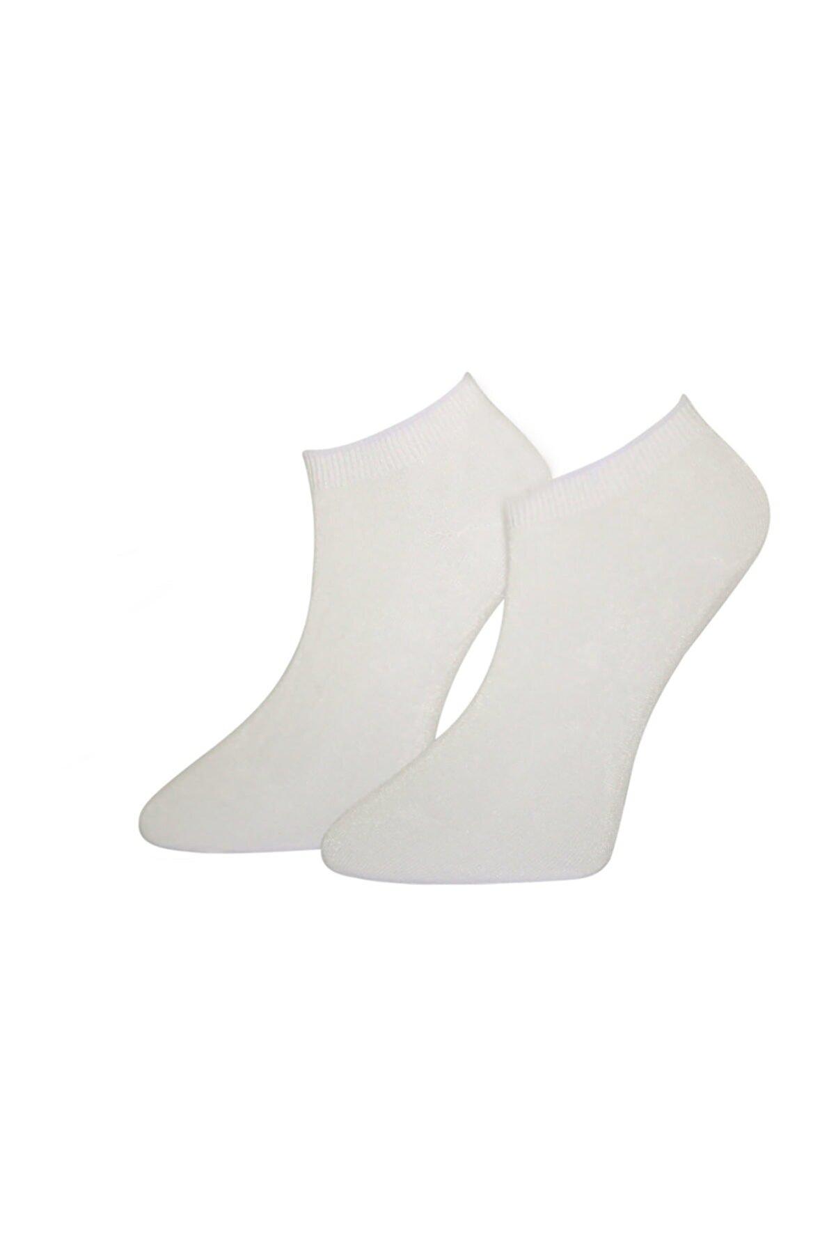 ADABELLA Kadın Beyaz Bambu Dikişsiz Soket 12 Çift Kısa Çorap