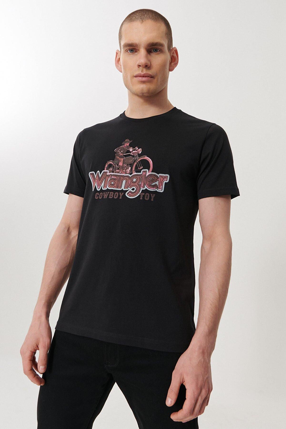 Wrangler Erkek Siyah Regular Fit Bisiklet Yaka T-Shirt