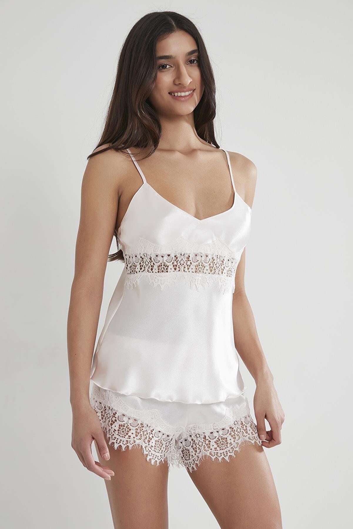 Pierre Cardin Kadın Saten Dantelli Pijama Şort Takım - 435 İnci