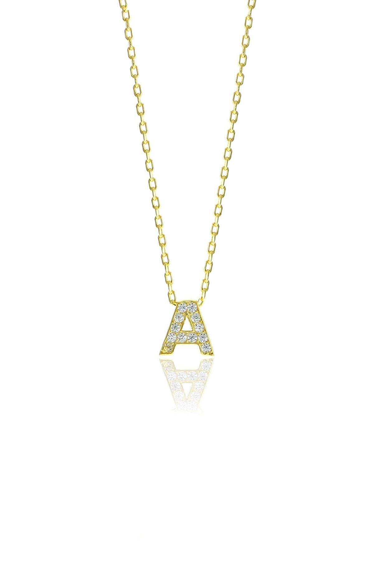 Söğütlü Silver Gümüş  Altın Yaldızlı Üç Boyutlu Minimal A Gümüş Harf Kolye