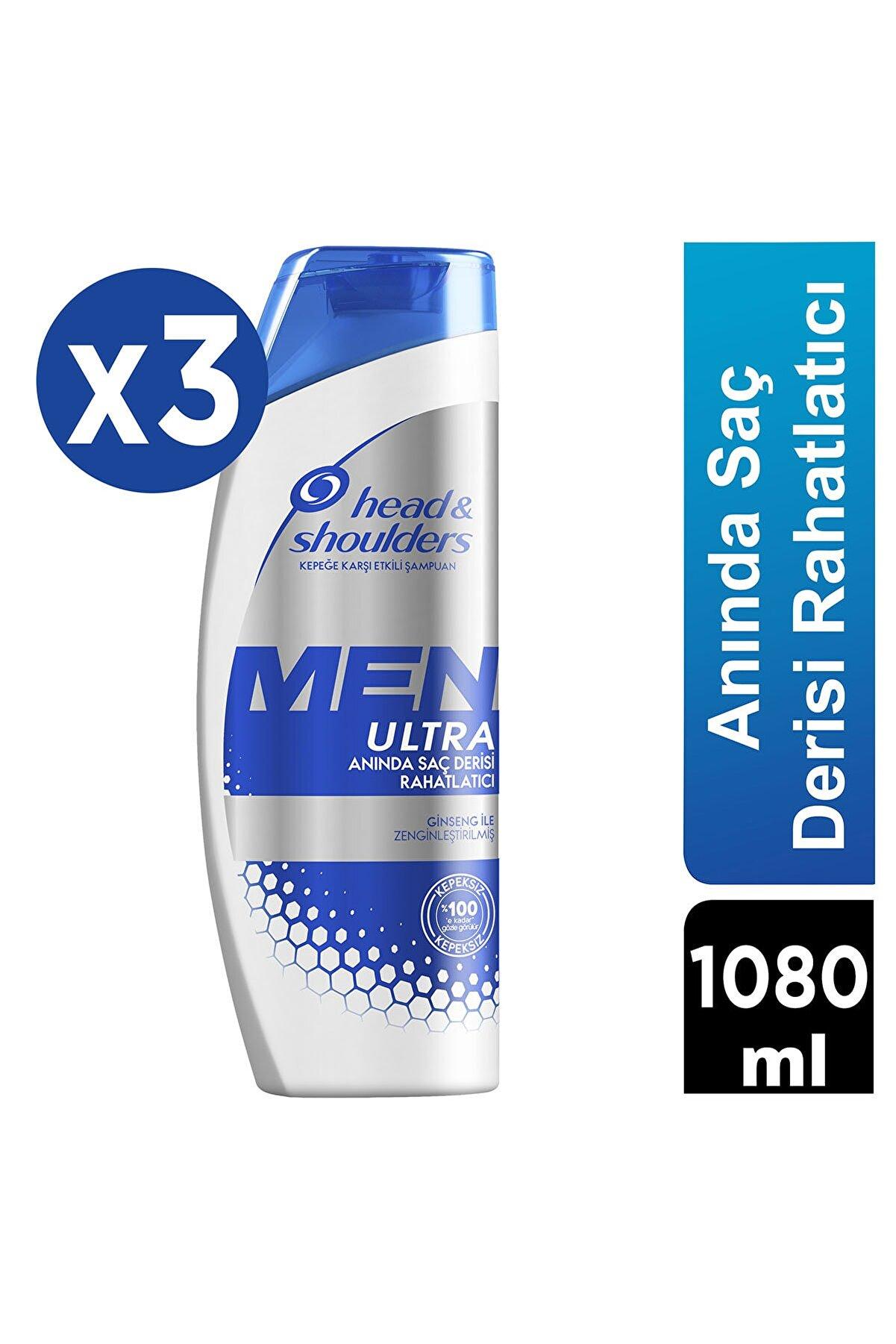Head And Shoulders Men Ultra Erkeklere Özel Kepek Karşıtı Şampuan Anında Saç Derisi Rahatlatıcı 360 ml X 3