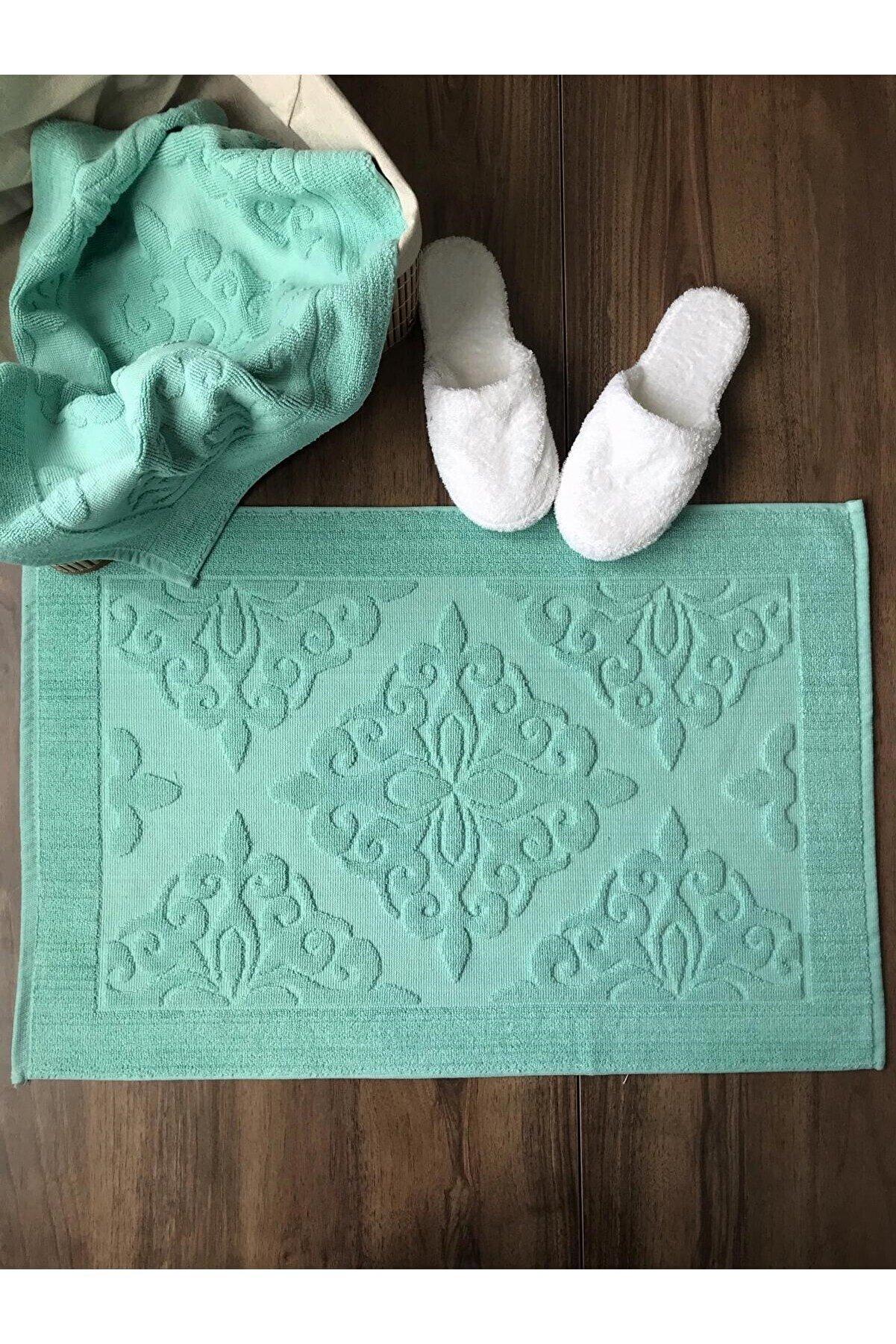Roi Tekstil Yeşil 2'li Ayak Havlusu Seti