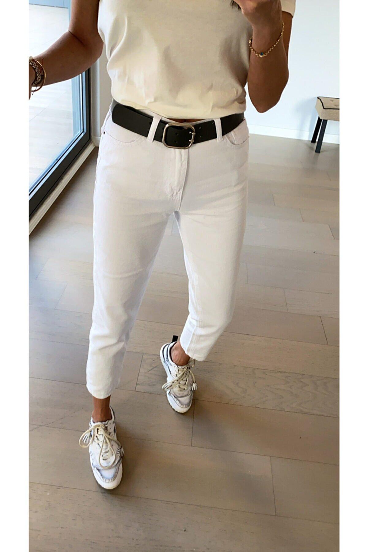 Bolesa Suadiye Beyaz Yüksek Bel Mom Jean Pantolon