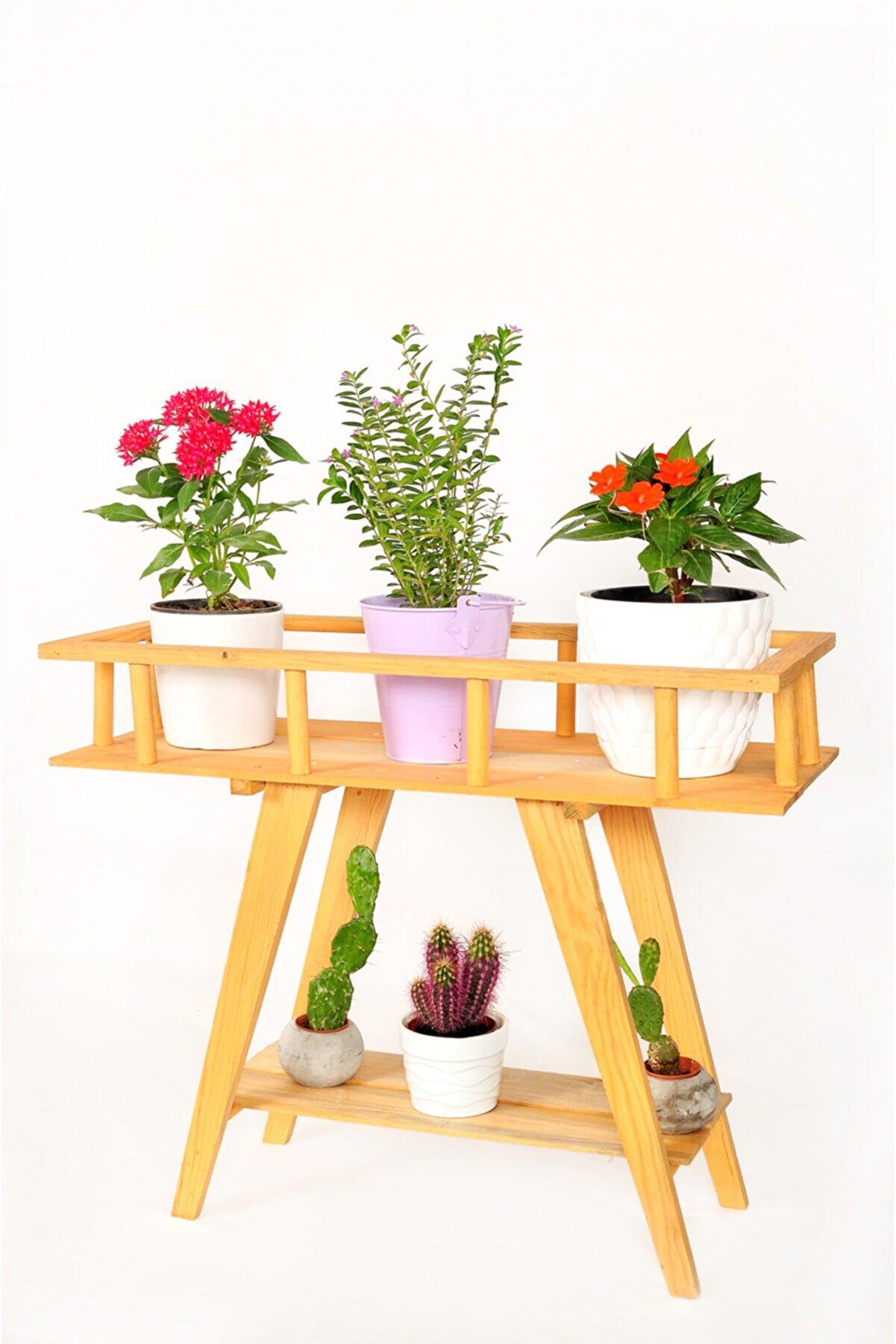 Tahta Bahçesi Saksı Standı - Çiçeklik Rafı - Ahşap Saksılık - Bahçe Dekorasyon Tb015