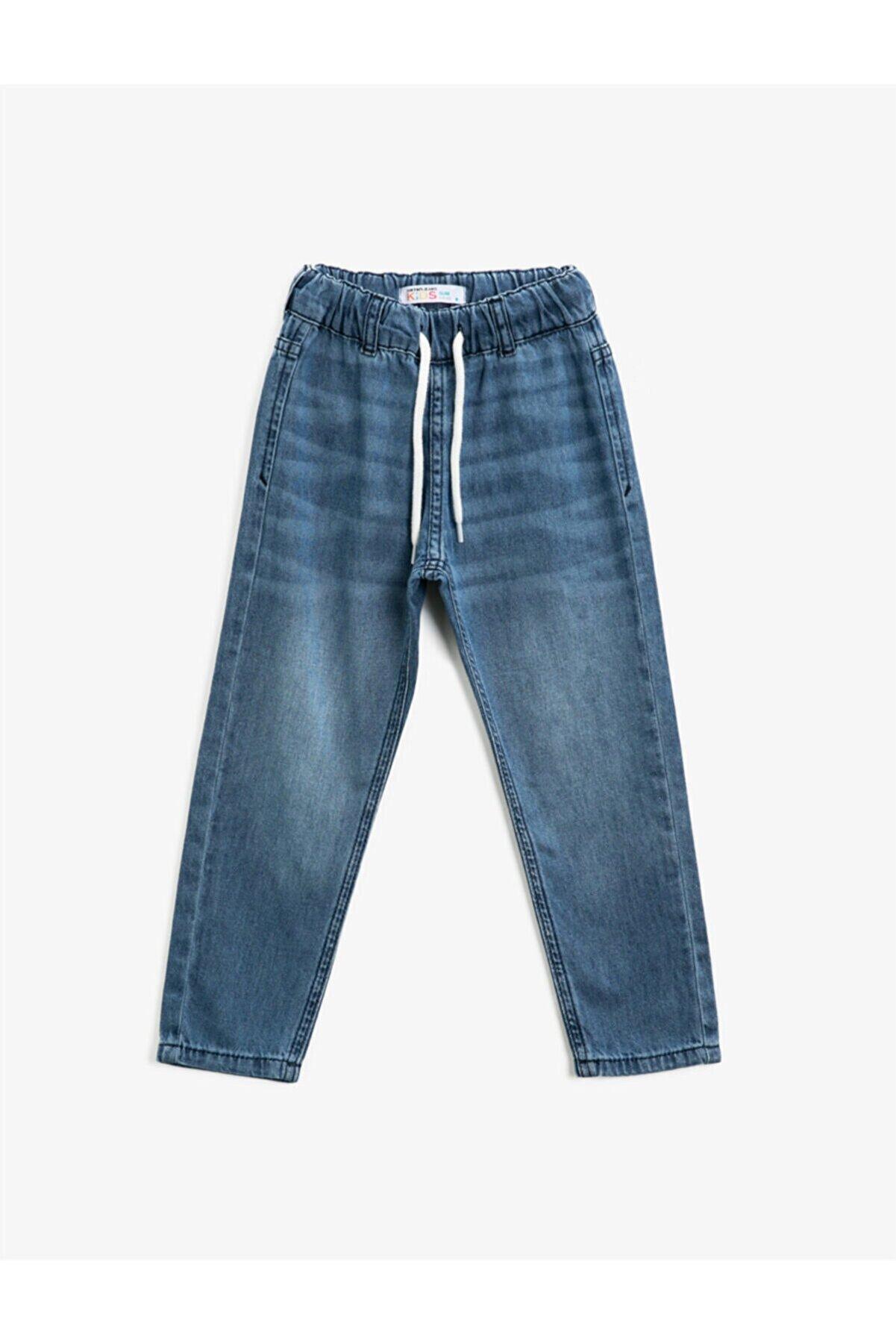 Koton Erkek Çocuk Mavi Beli Bağlamalı Pamuklu Jean