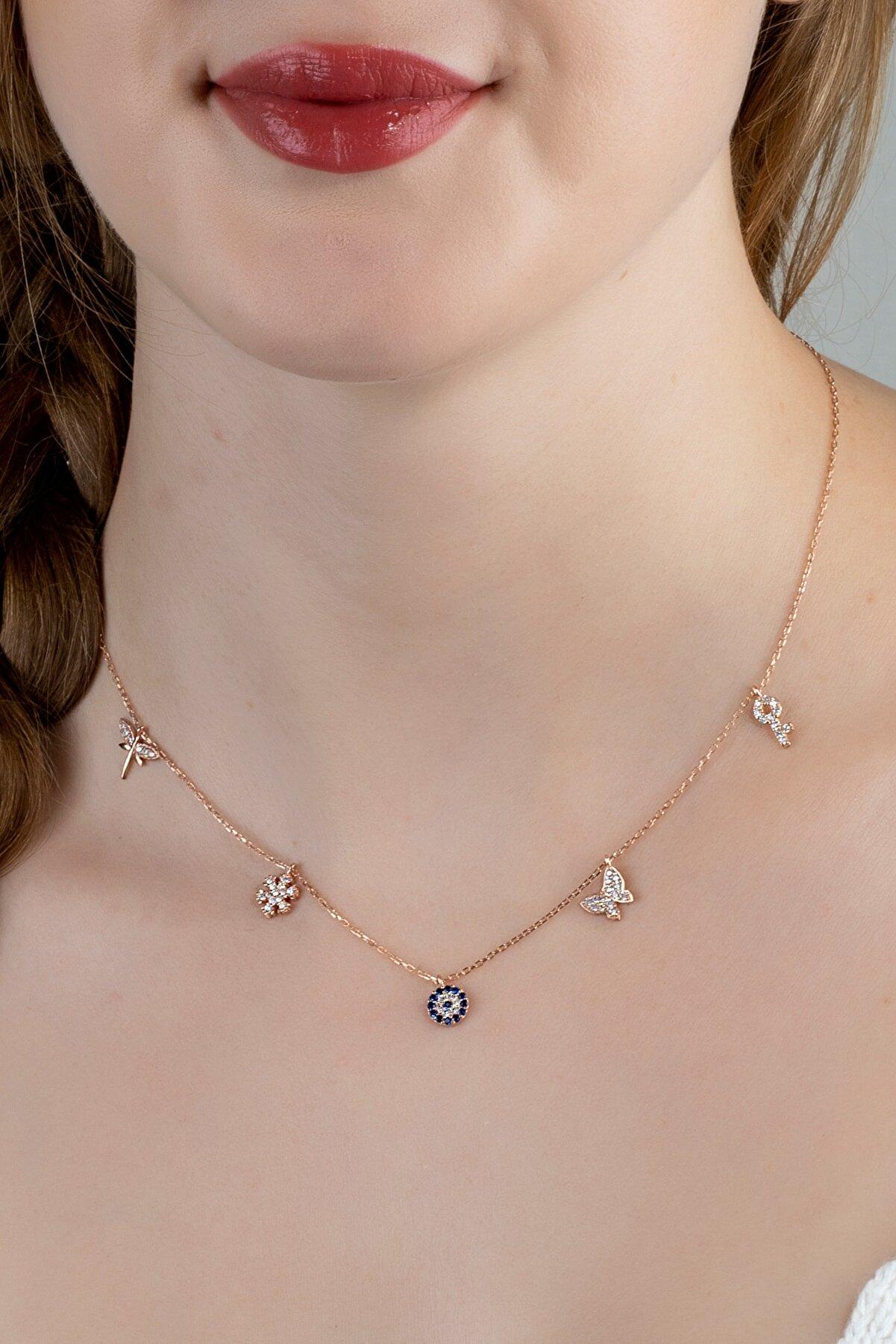 Linterna Silver Kadın Gümüş Zirkon Taşlı Figürlü Tasarım Şans Kolyesi