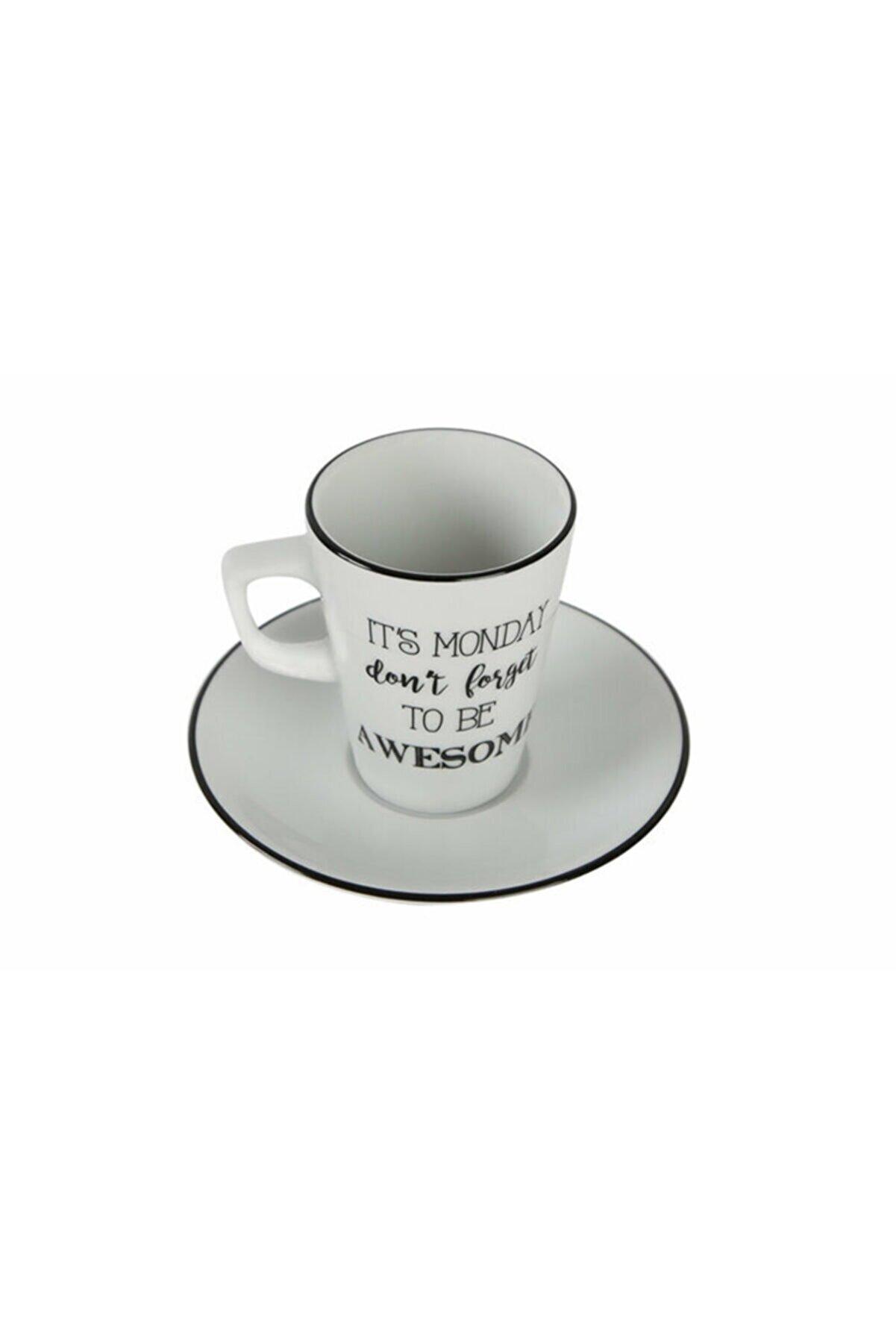 Porland Be Happy Tabaklı Kahve Fincanı 95cc