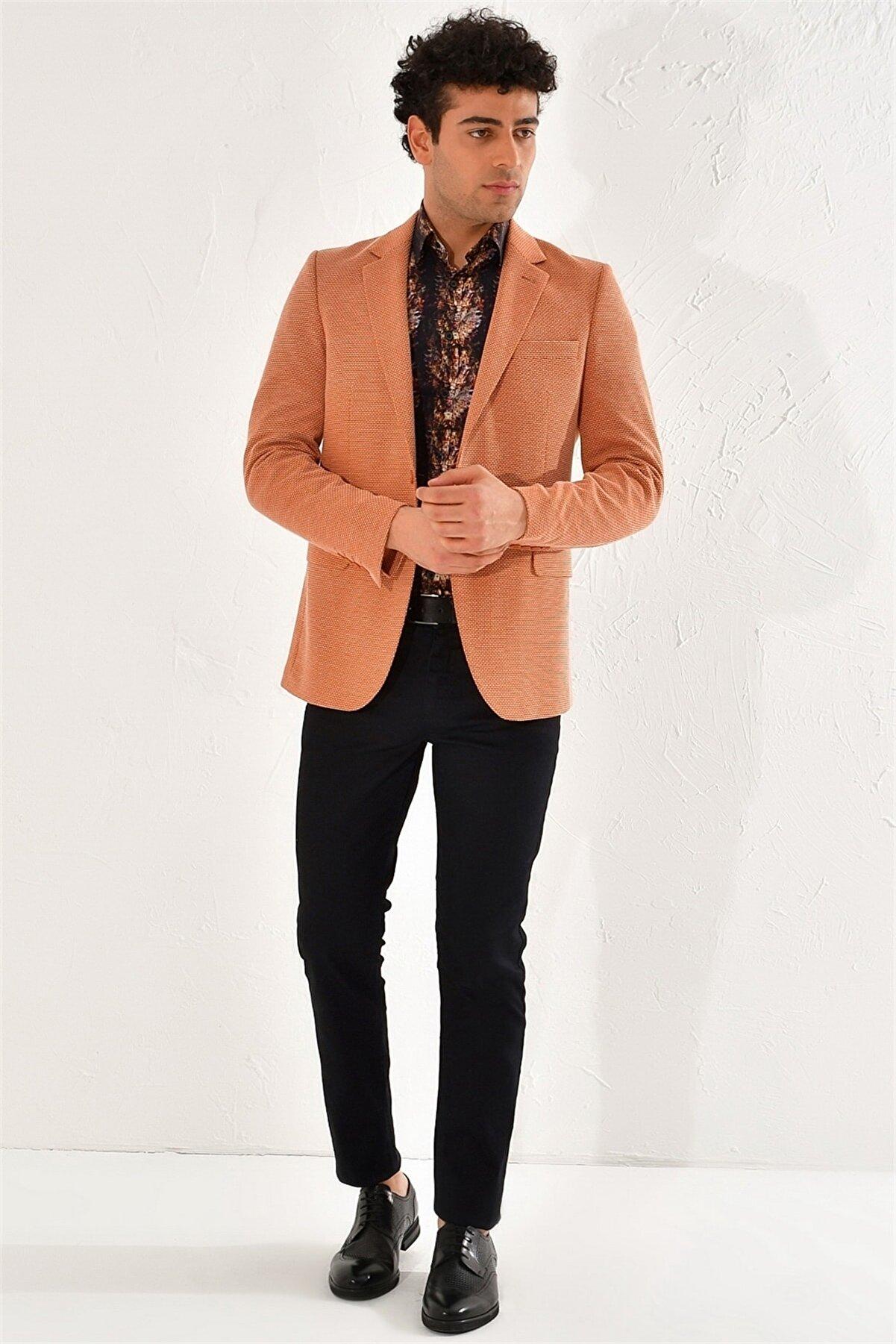 Efor Erkek Turuncu Slim Fit Kiremit Klasik Ceket