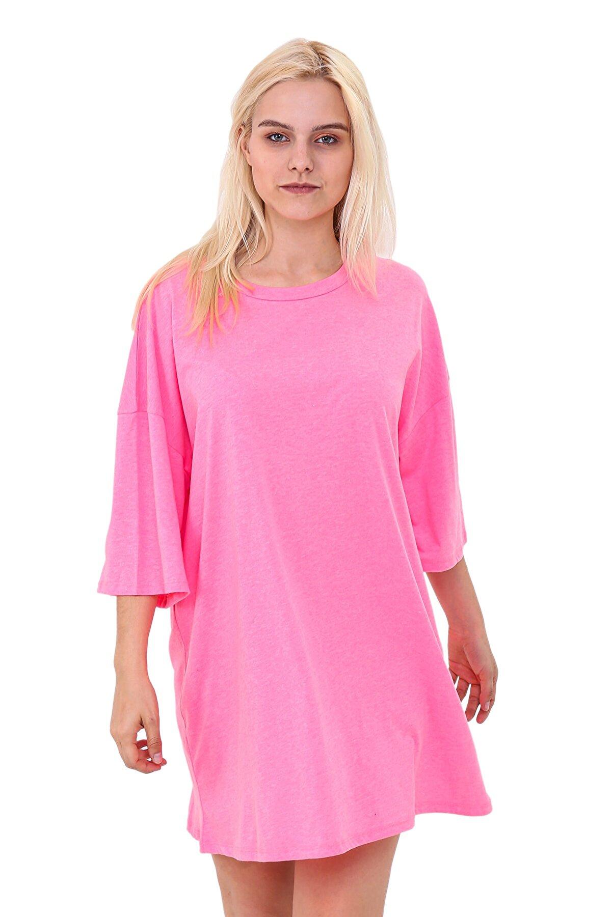 L' Azull Neon Pembe Oversize T-shirt Elbise