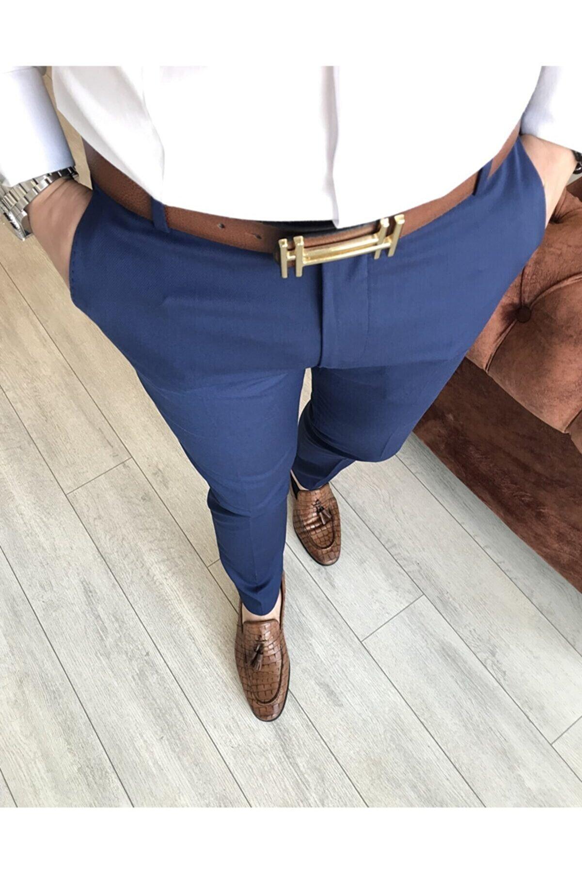 TerziAdemAltun Italyan Stil Slim Fit Erkek Kumaş Pantolon Açık Lacivert T4828