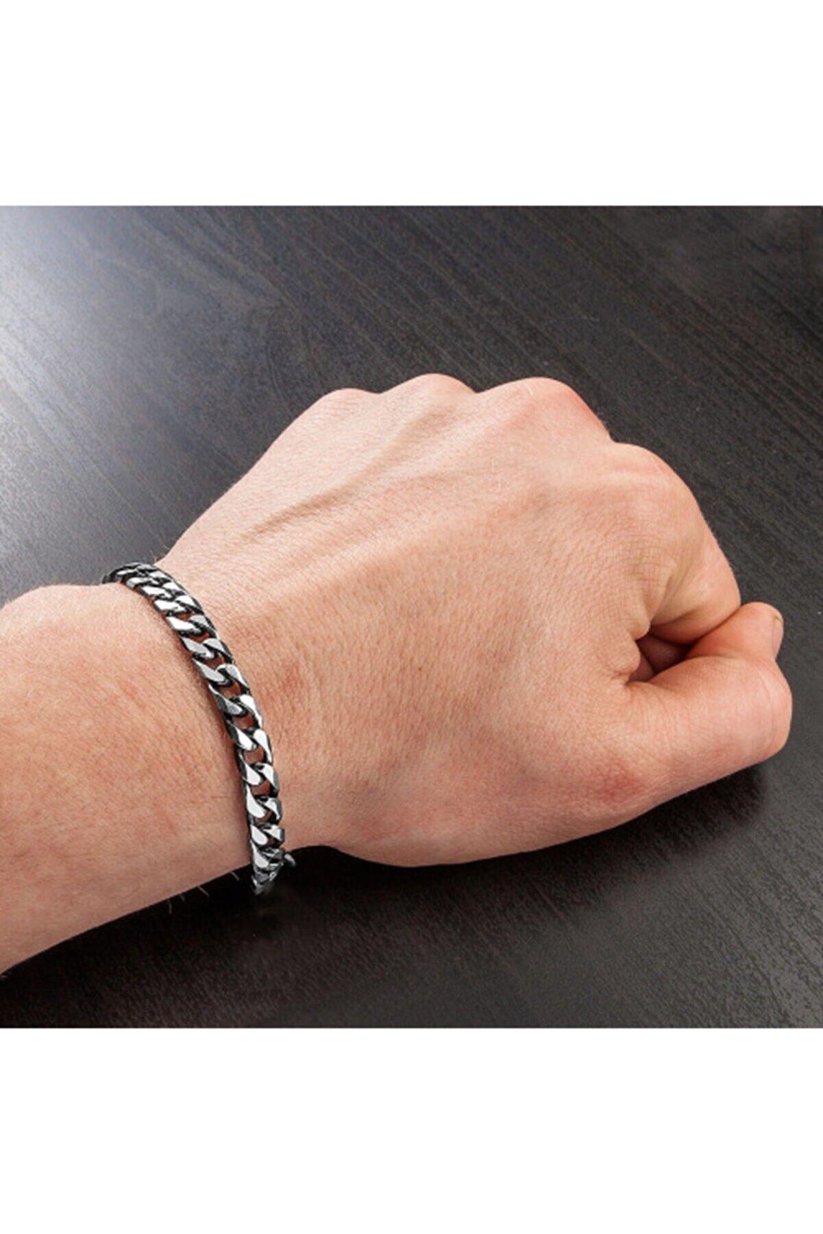 ERGONOMİSEPETİ Ünisex Gümüş Model Kararmaz Bakla Zincir Bileklik ( 20 Cm )