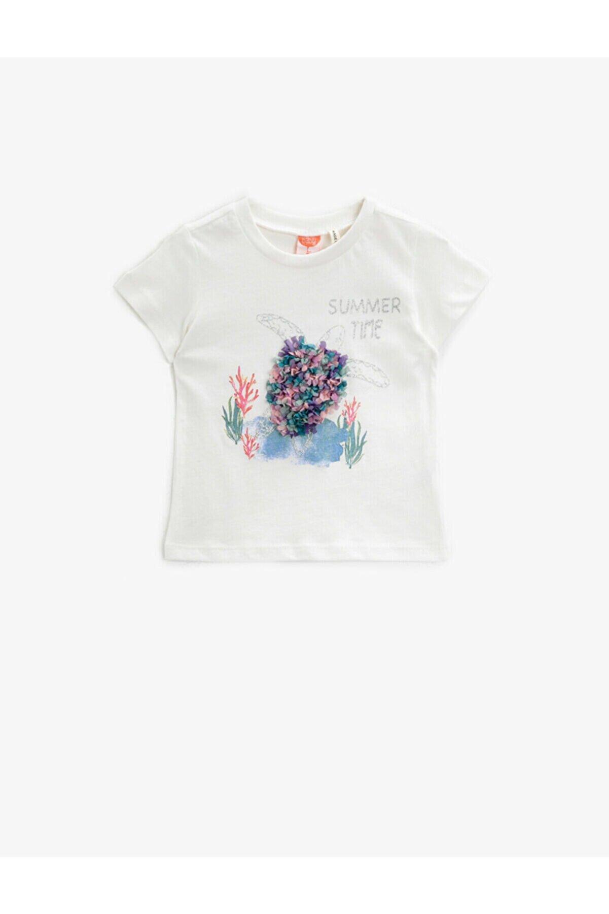 Koton Kız Bebek Ekru Kısa Kollu Simli Baskılı Pamuklu T-Shirt
