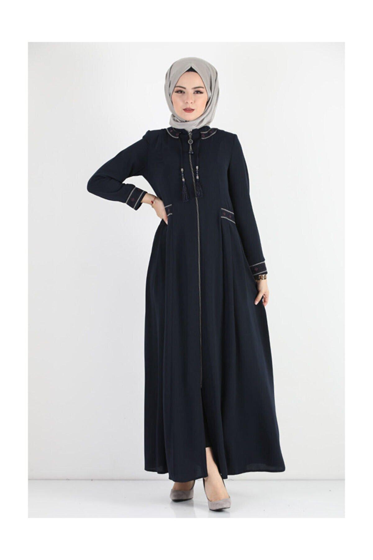 Tesettür Dünyası Kadın Nakışlı Büyük Beden Elbise Tsd7023 Lacivert