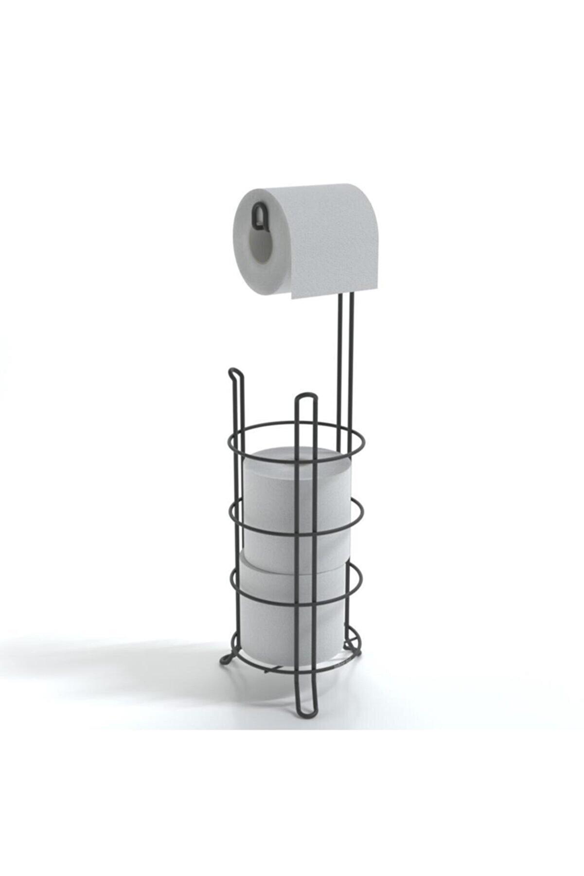 Teknotel Ayaklı Yedekli Wc Tuvalet Kağıtlık Mat Siyah Mg093