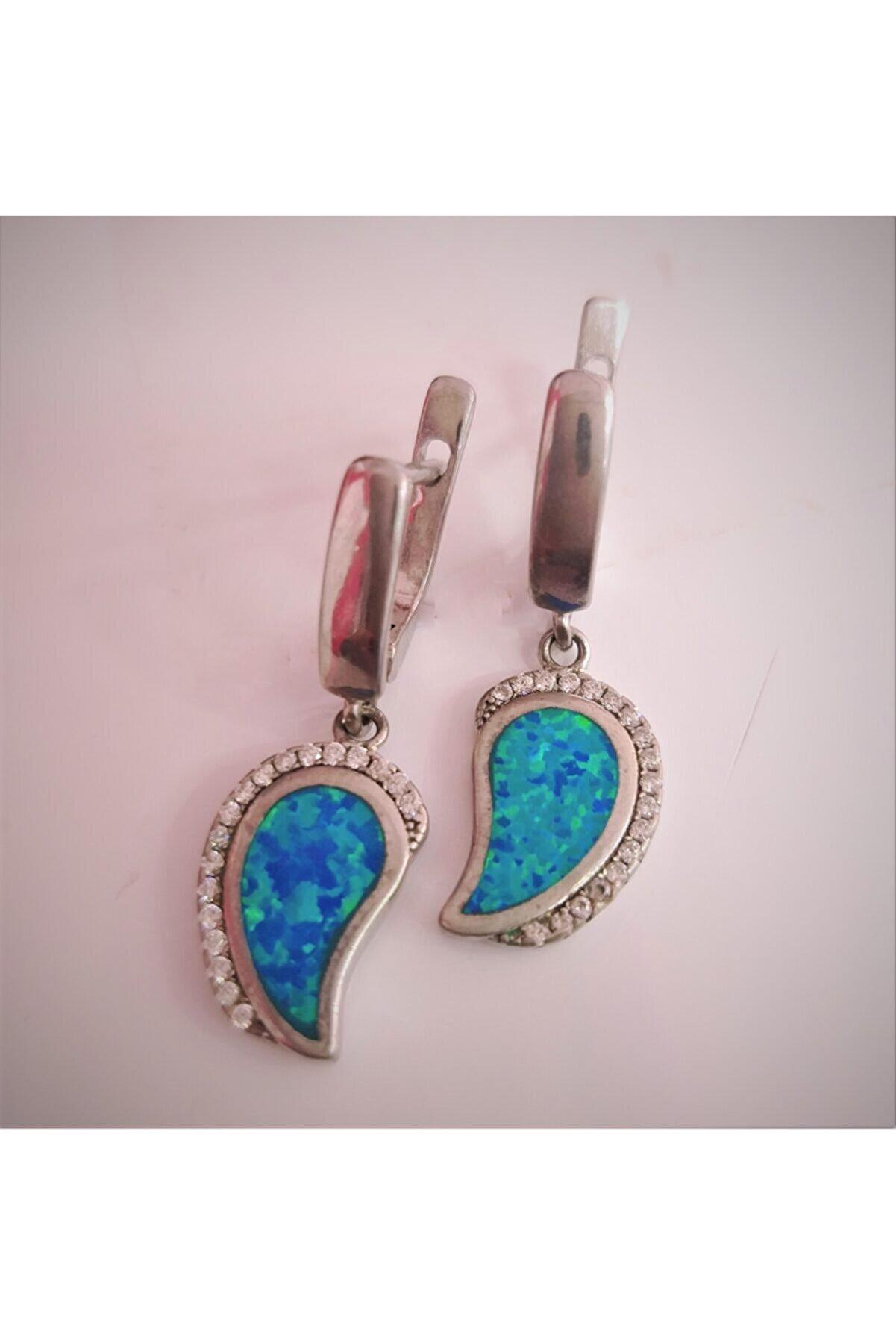 DF GÜMÜŞ Mavi Opal Taşlı Küpe