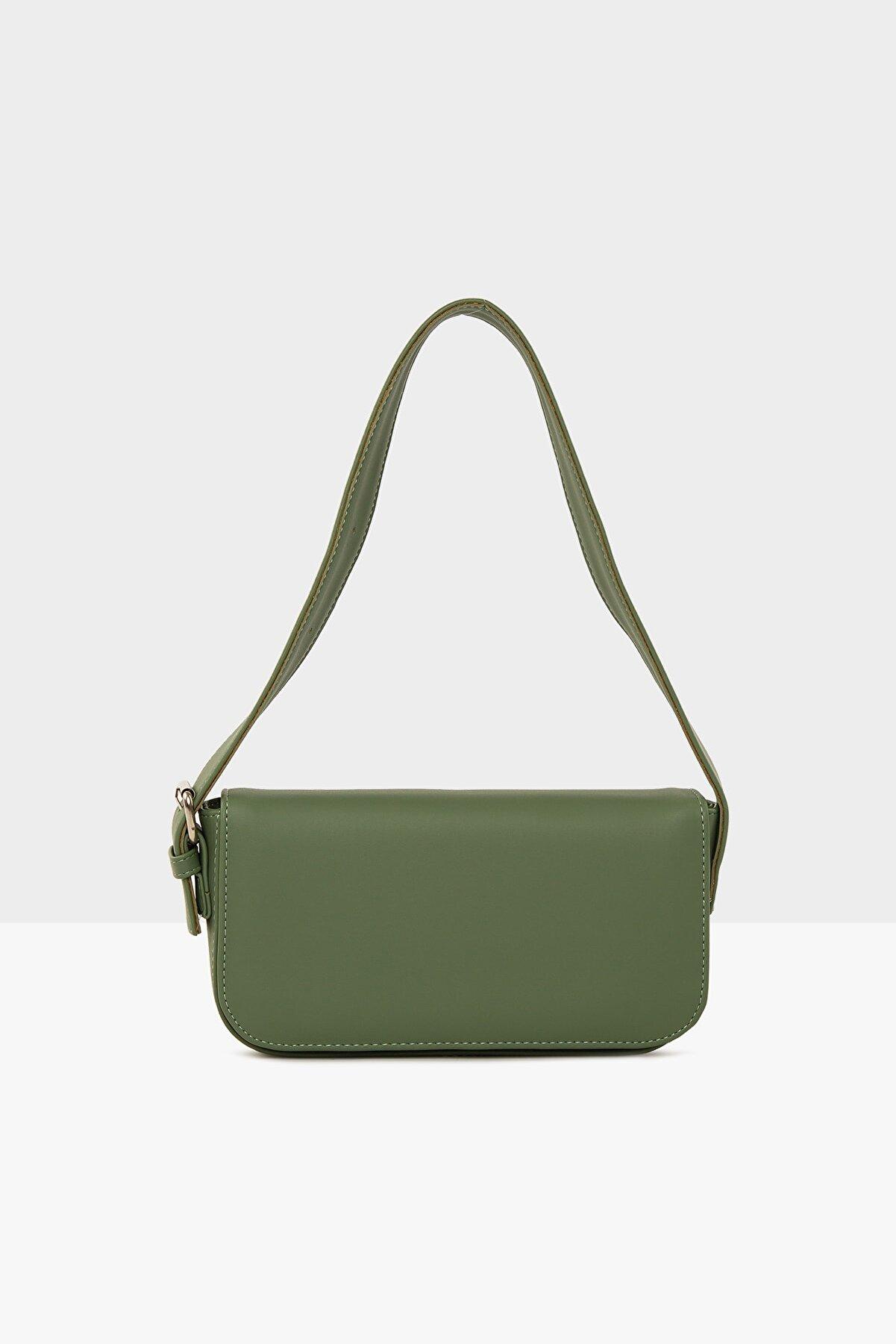 Bagmori Yeşil Kadın Kapaklı Kalıp Baget Çanta M000004657