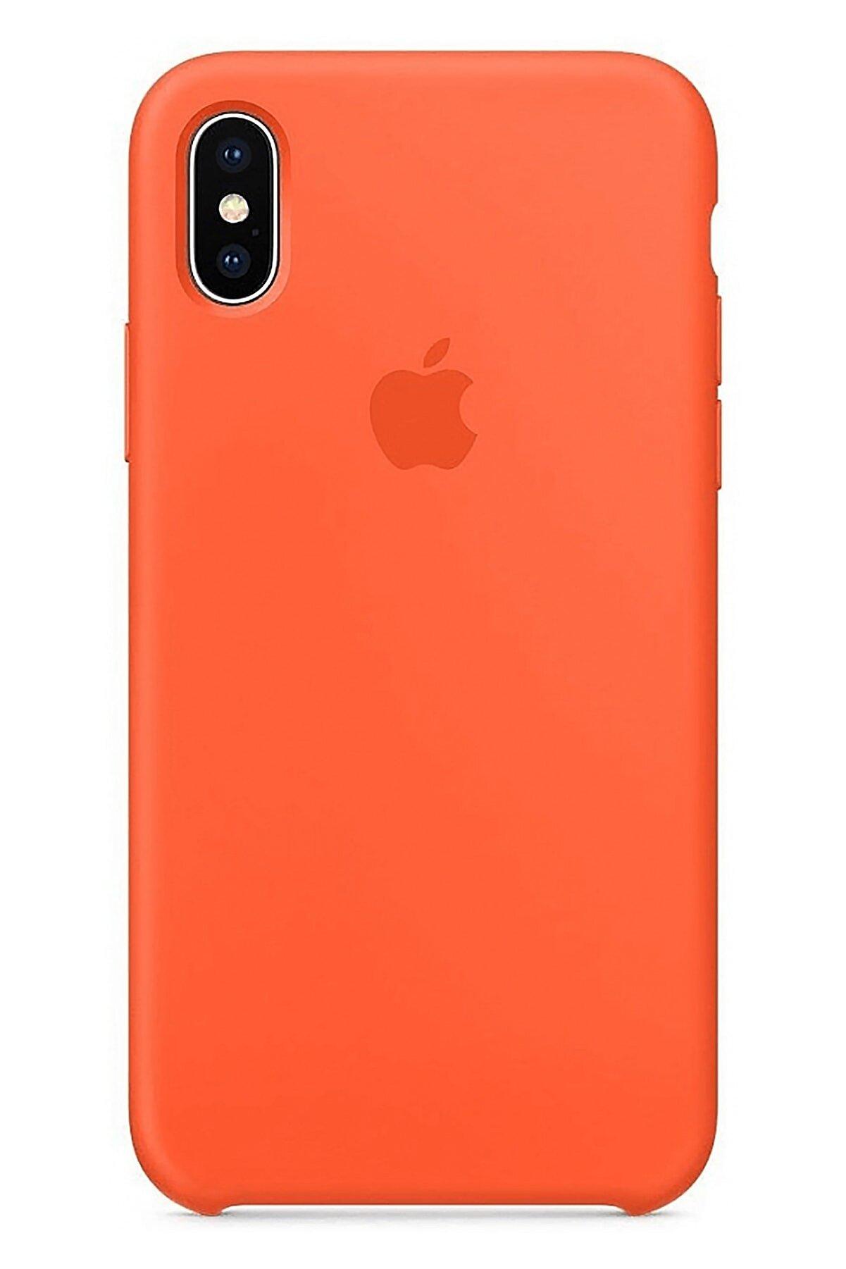 Ebotek Apple Iphone X Silikon Kılıf Pudra Turuncu