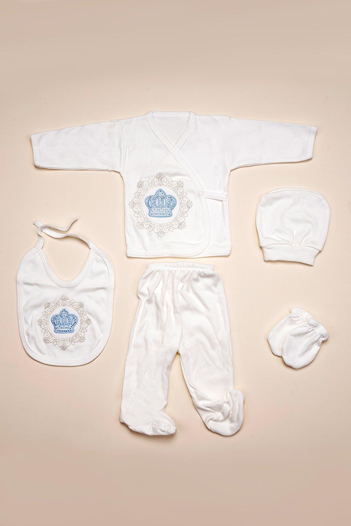 Mavi Bebek Mavi Taçlı 5li Erkek Bebek Hastane Çıkışı Yeni Doğan