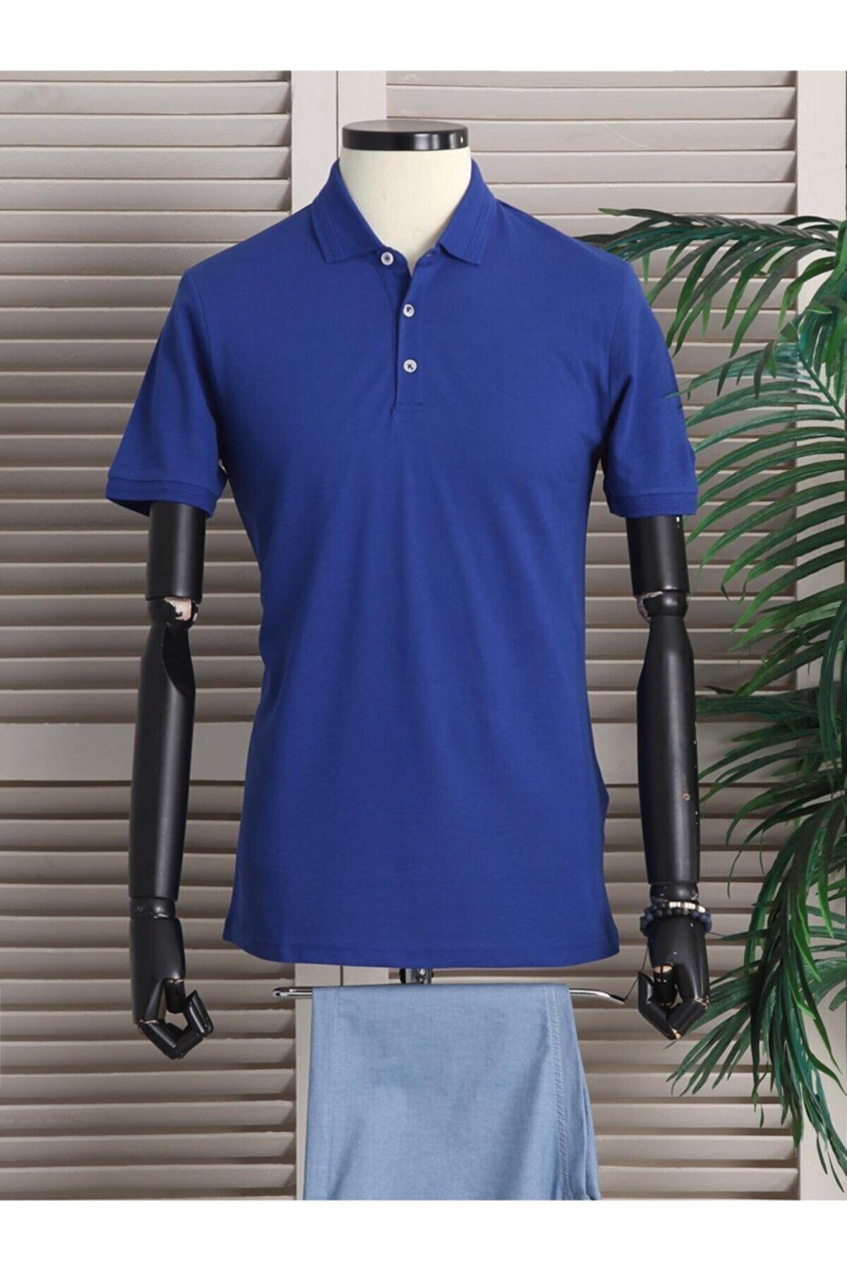 Kip Erkek Saks Düz Örme Polo Yaka T-shirt