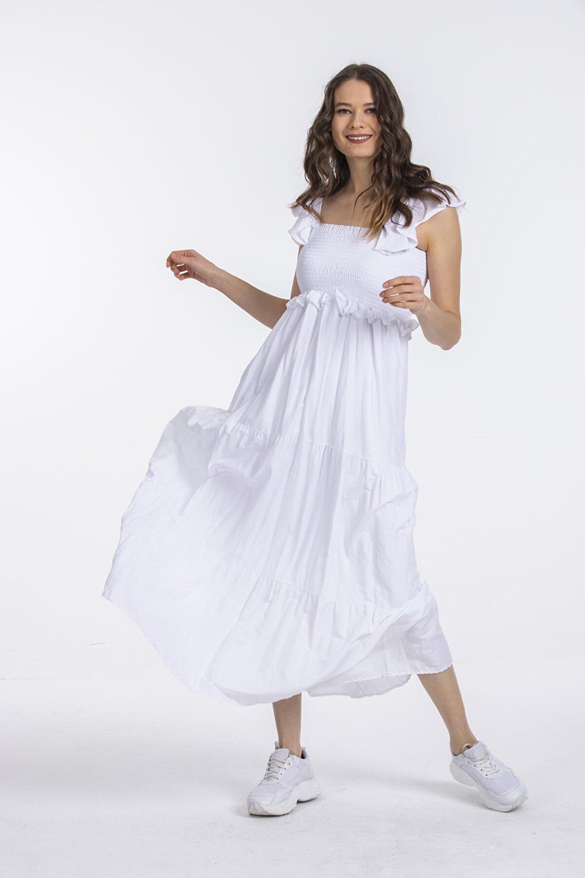 Pitti Kadın Beyaz Elbise 51085