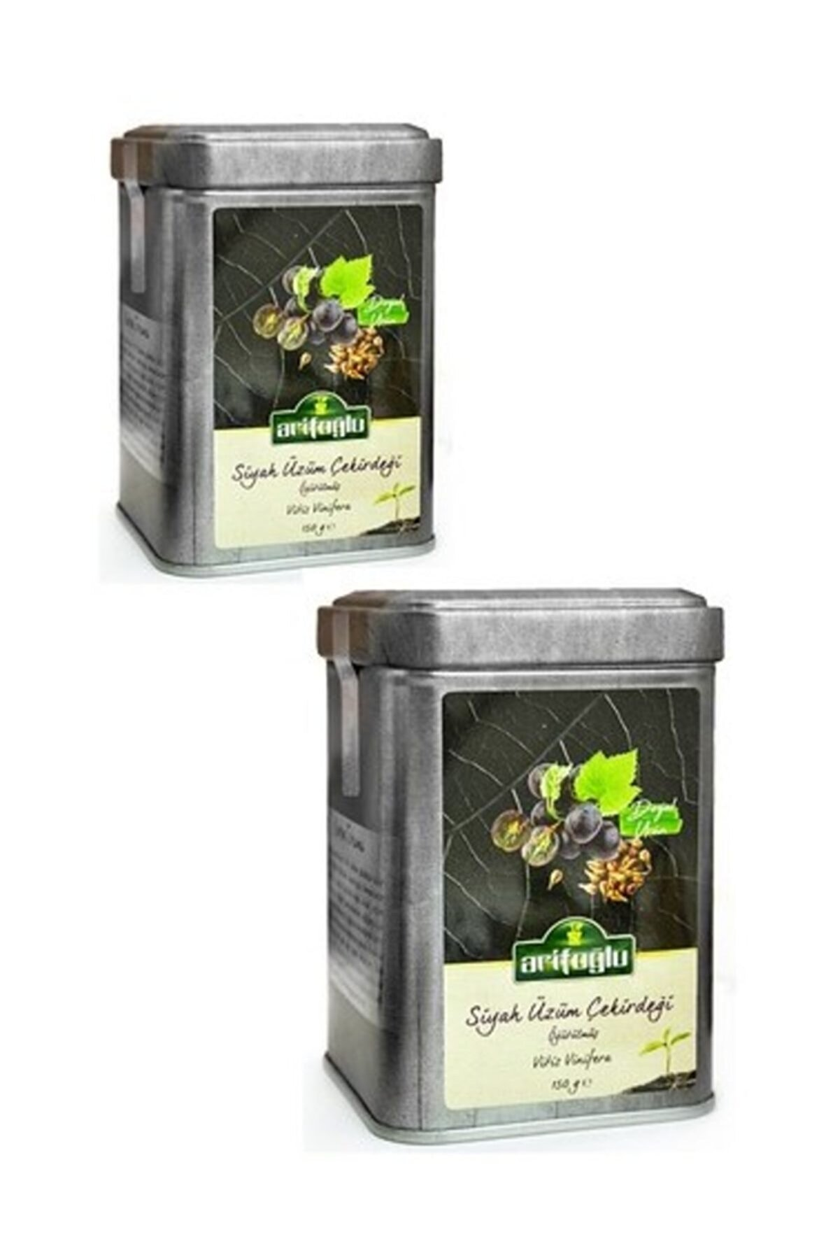 Arifoğlu Siyah Üzüm Çekirdeği 150 + 150 gr (2li Teneke Kutu Öğütülmüş Bitki Çayı)