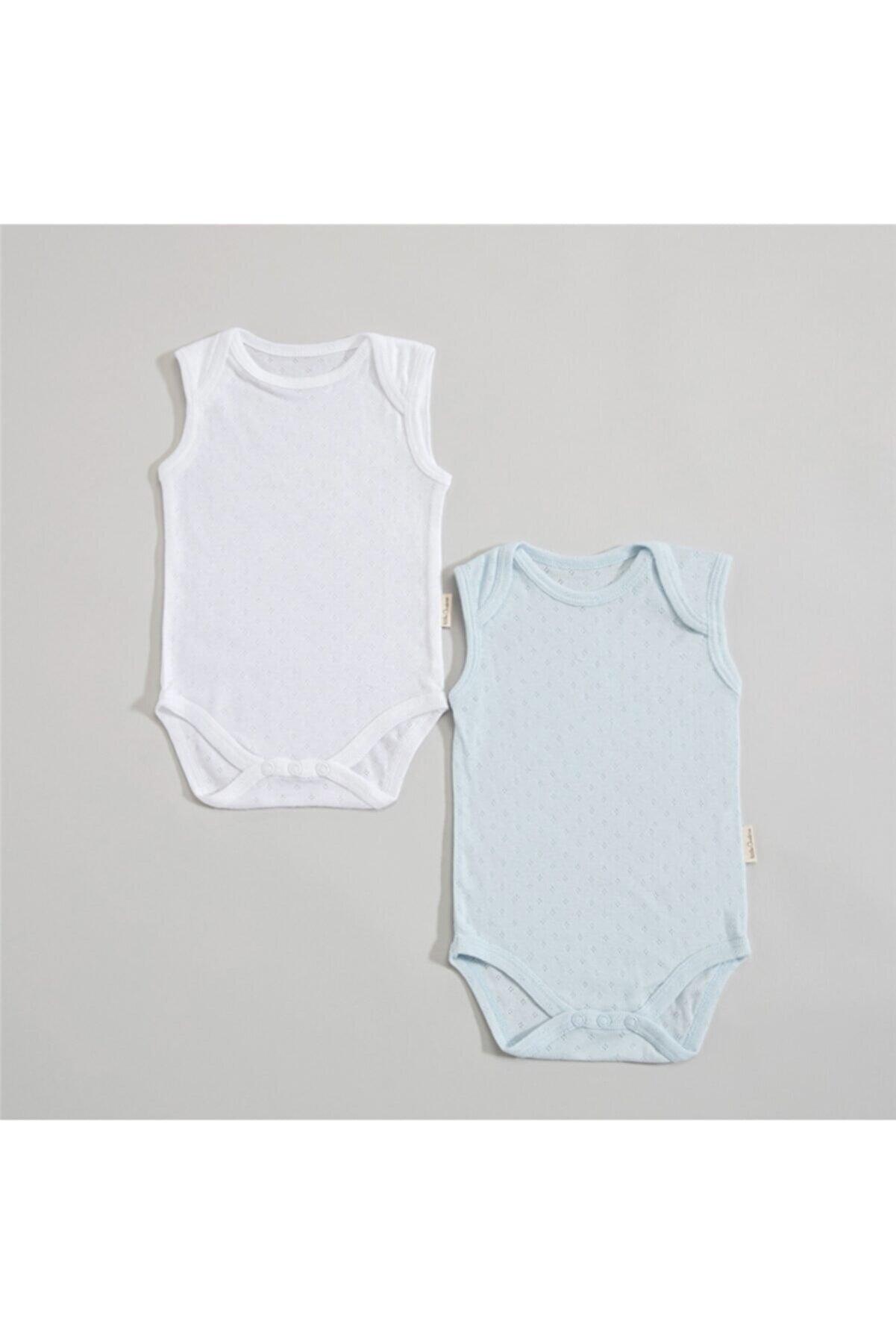 Chakra Lonya Kolsuz 2li Body Set 0-3 Ay Mavi/beyaz