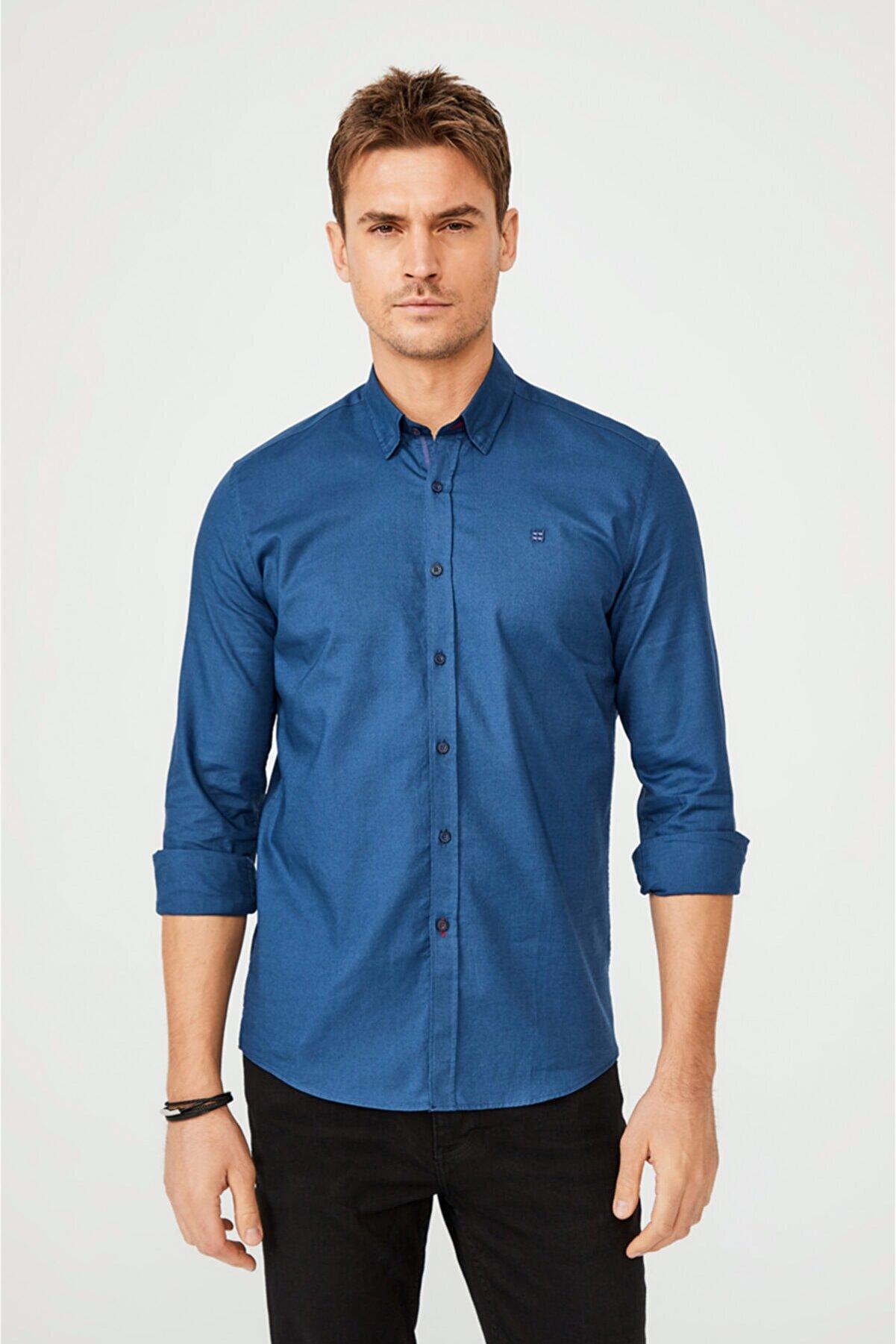 Avva Erkek Indigo Düz Alttan Britli Yaka Slim Fit Gömlek A02y2244