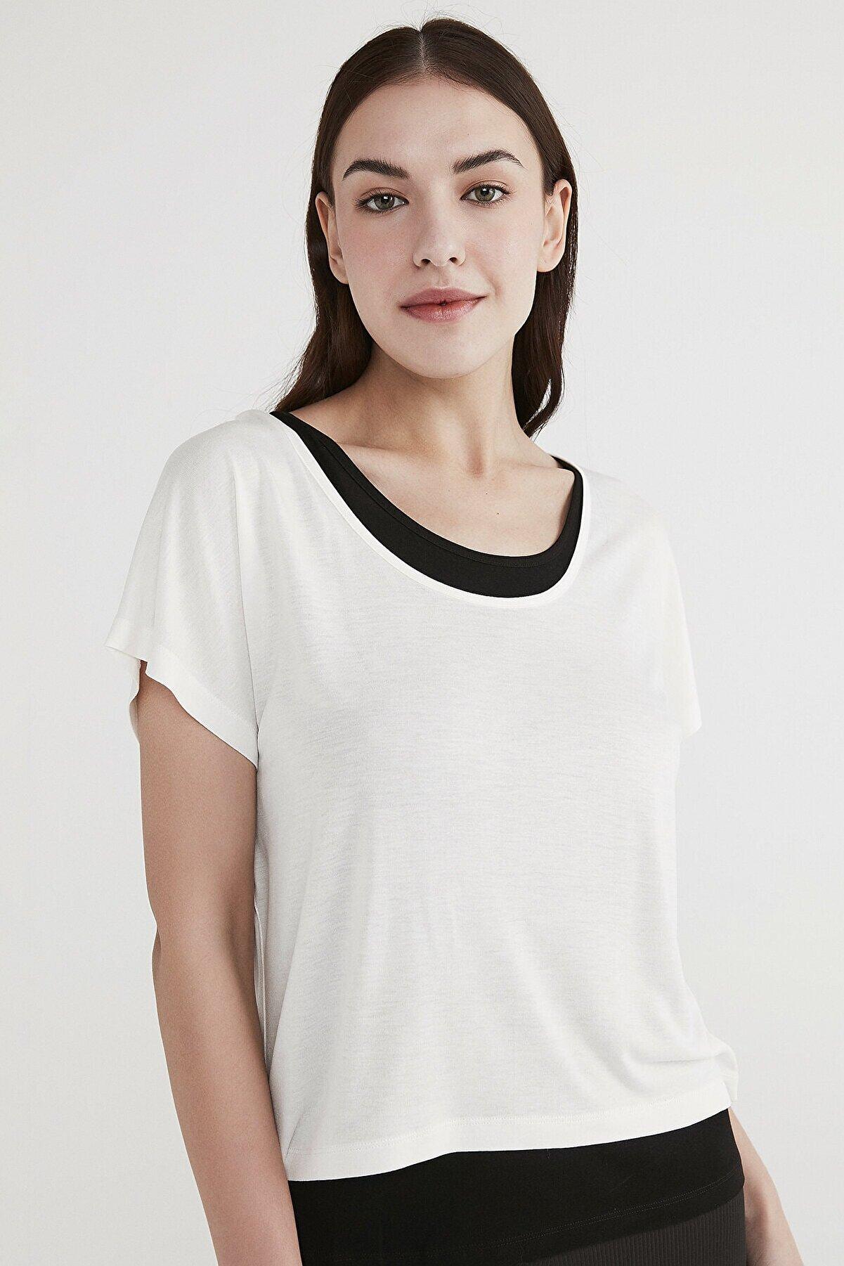 Penti Kadın Beyaz Basic Double Tişört